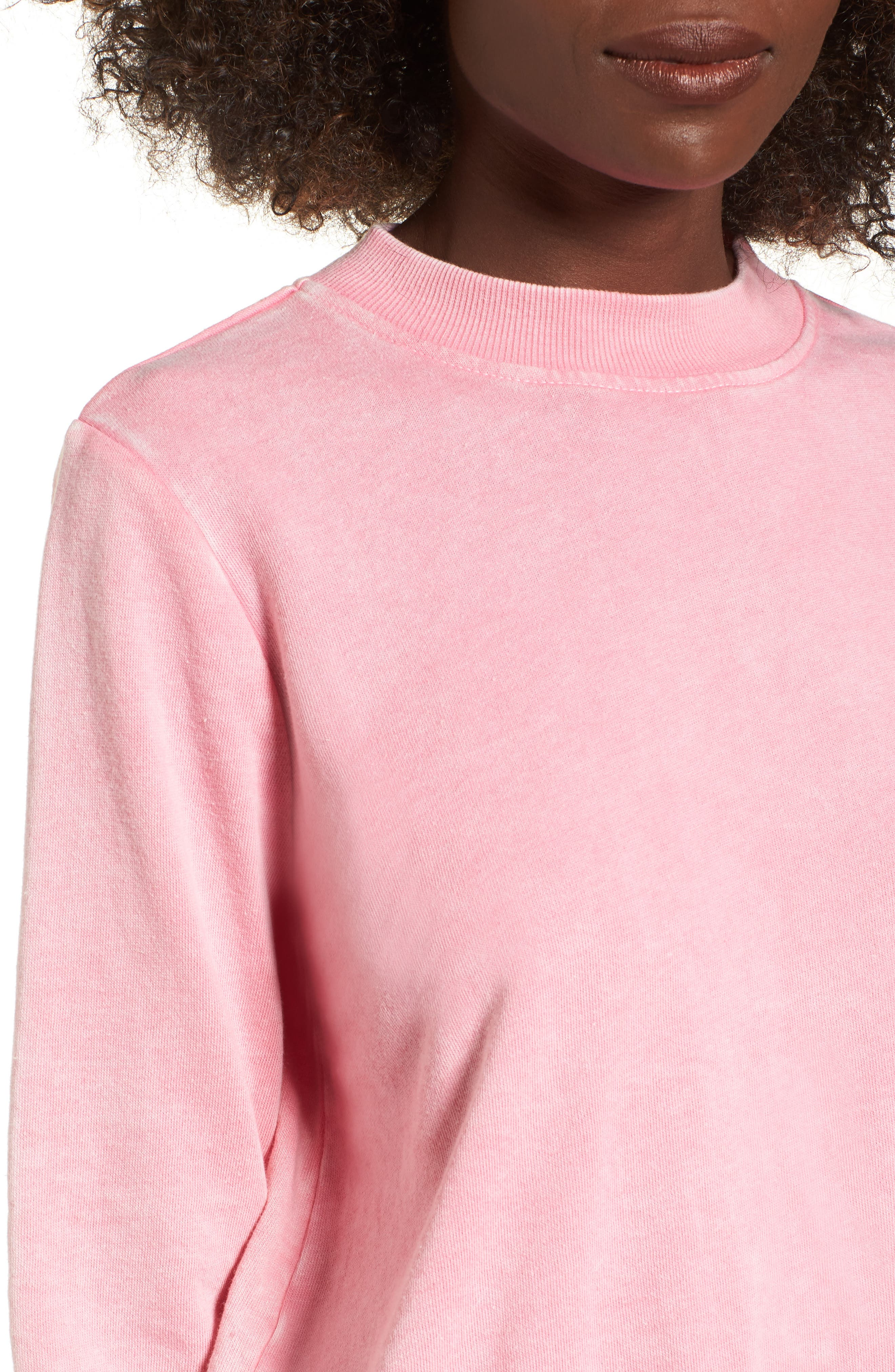 Washed Crop Sweatshirt,                             Alternate thumbnail 4, color,                             Pink