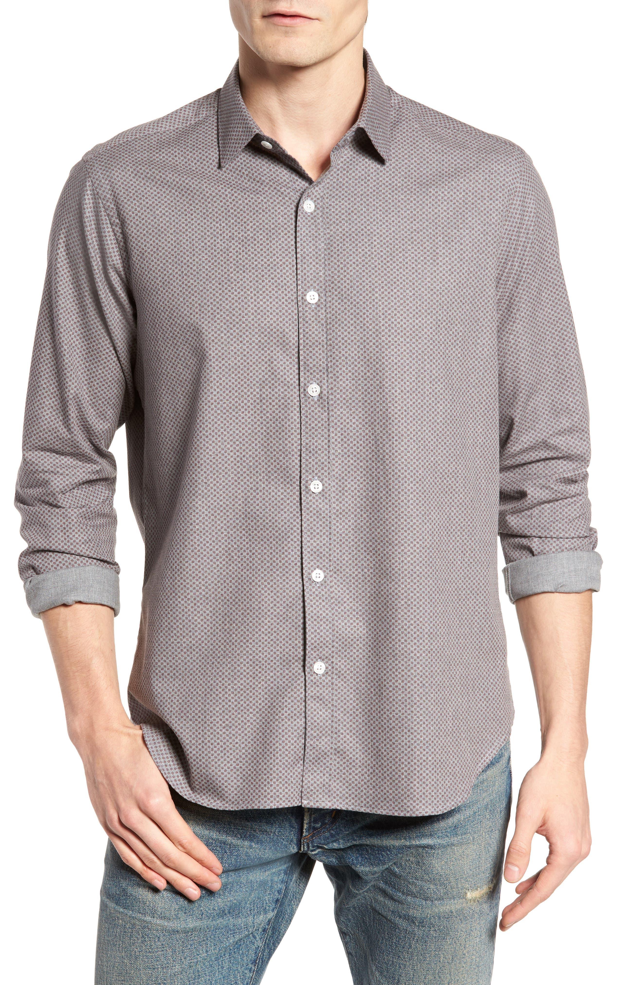 Ludlow Slim Fit Flannel Sport Shirt,                         Main,                         color, Grey