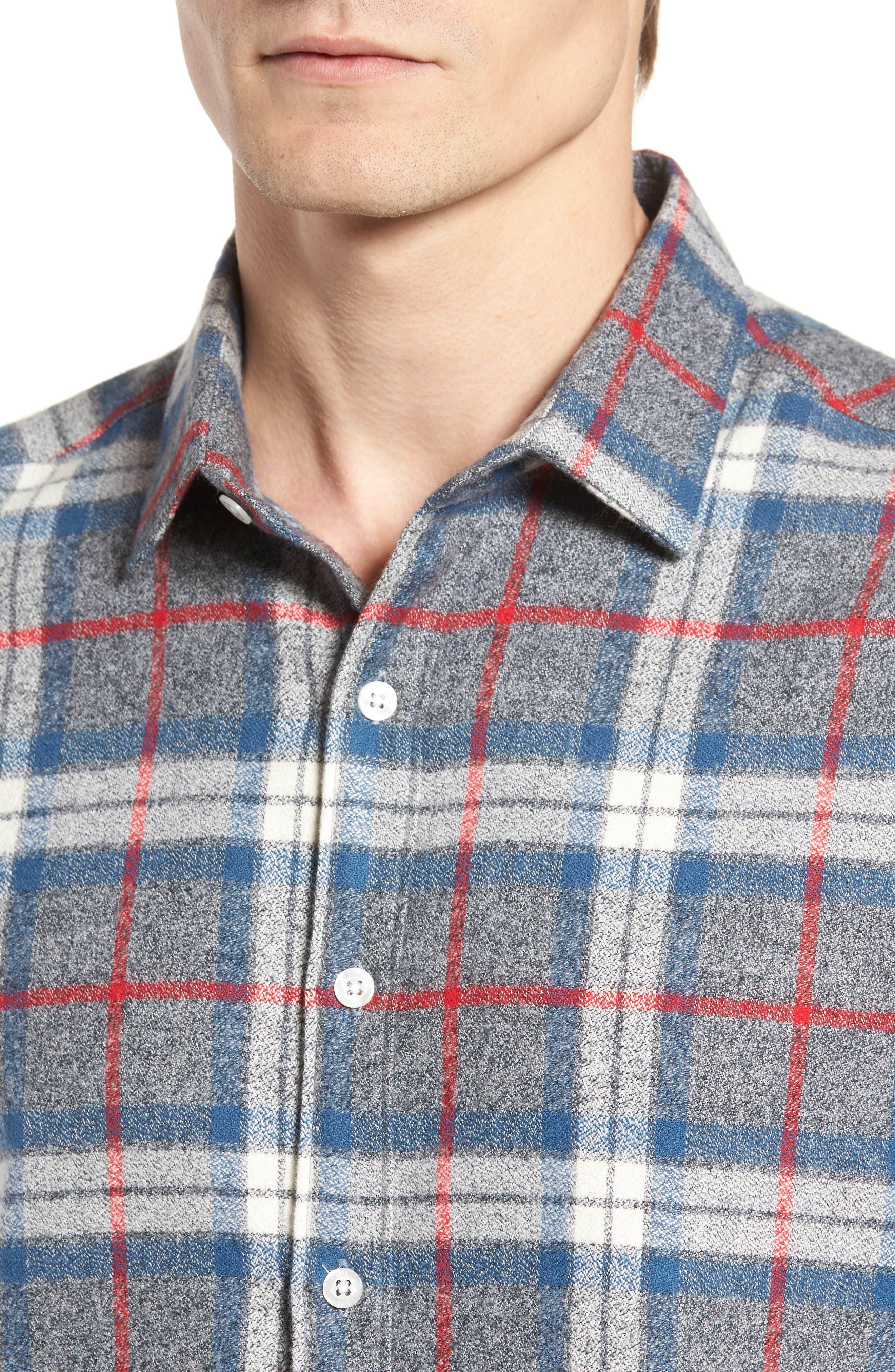 Brattleb Slim Fit Plaid Sport Shirt,                             Alternate thumbnail 4, color,                             Smoke Grey