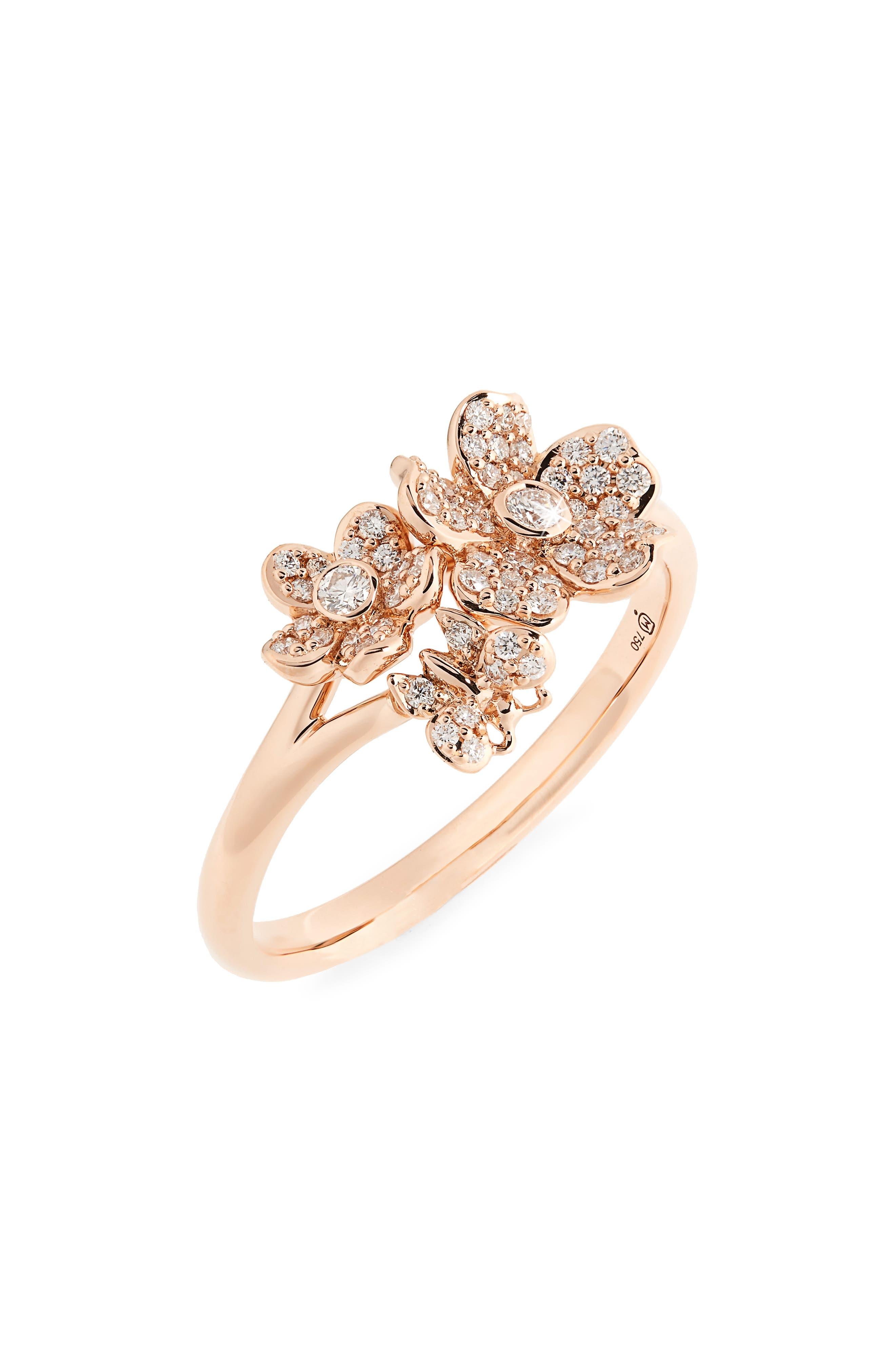 Diamond Flower Ring,                         Main,                         color, Rose Gold