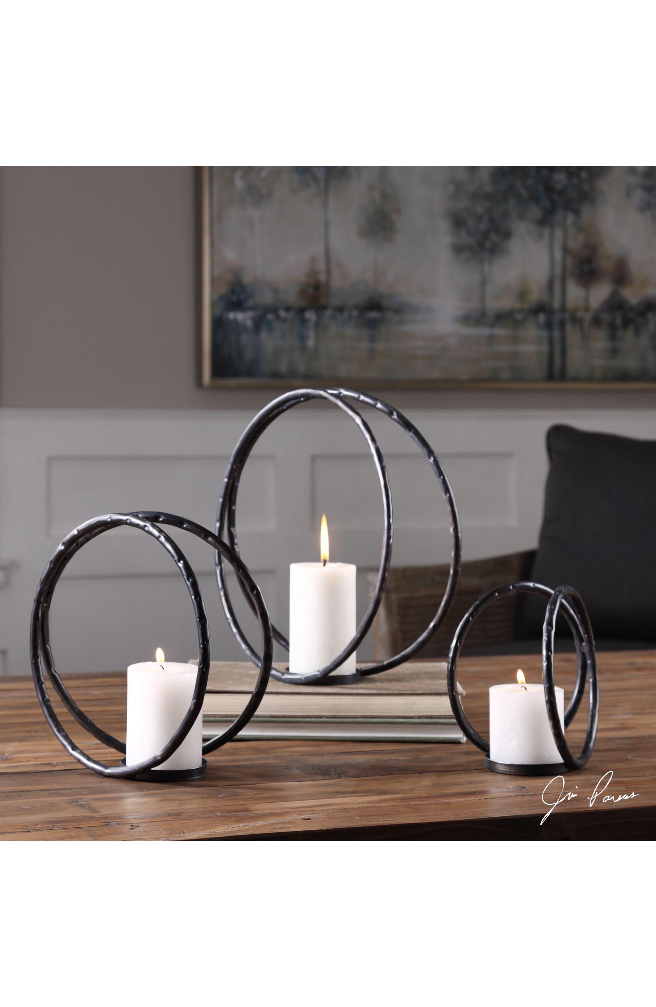 Pina Set of 3 Candleholders,                             Alternate thumbnail 2, color,                             Black