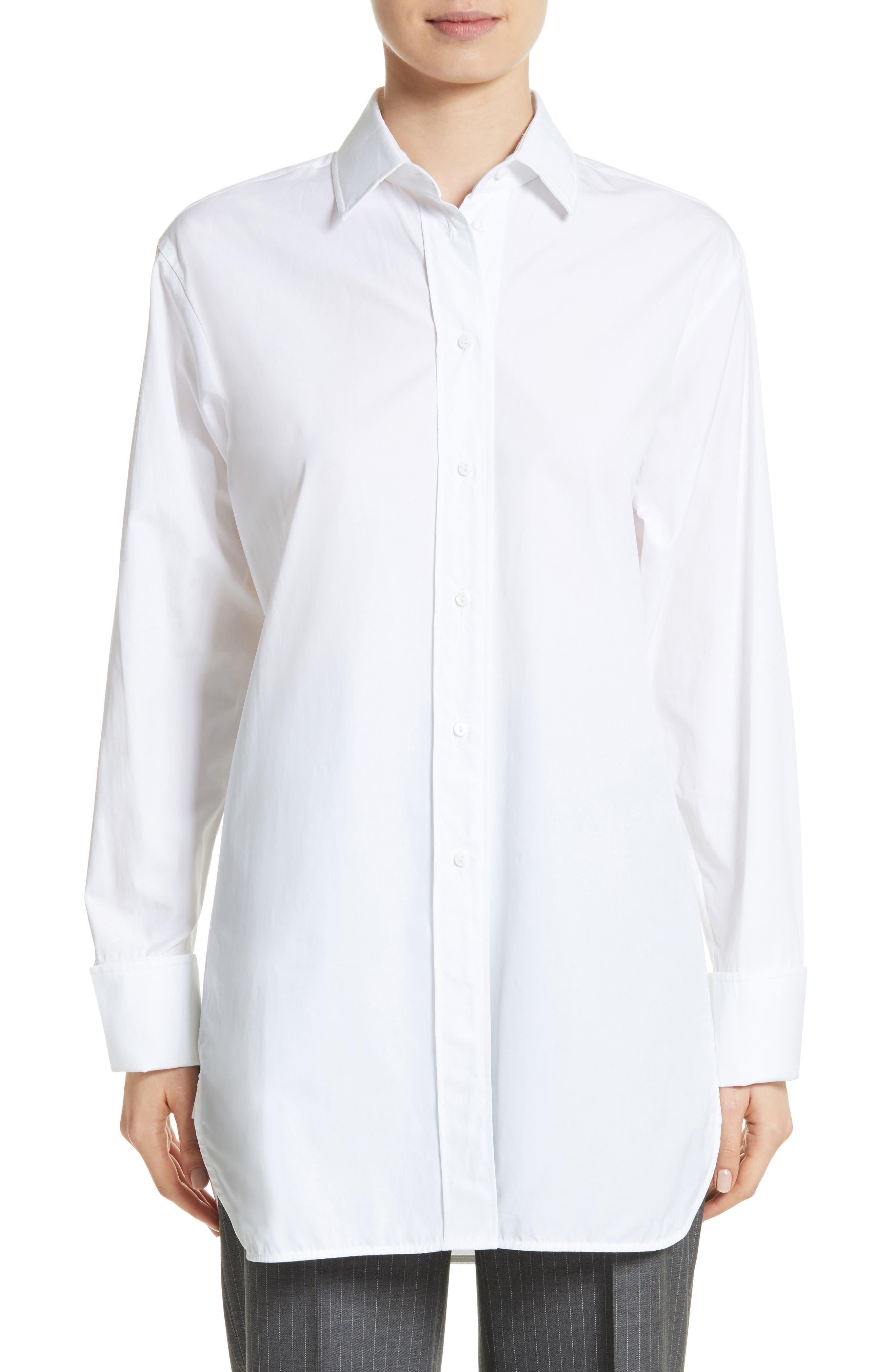 Visivo Cotton Poplin Shirt,                         Main,                         color, Optical White