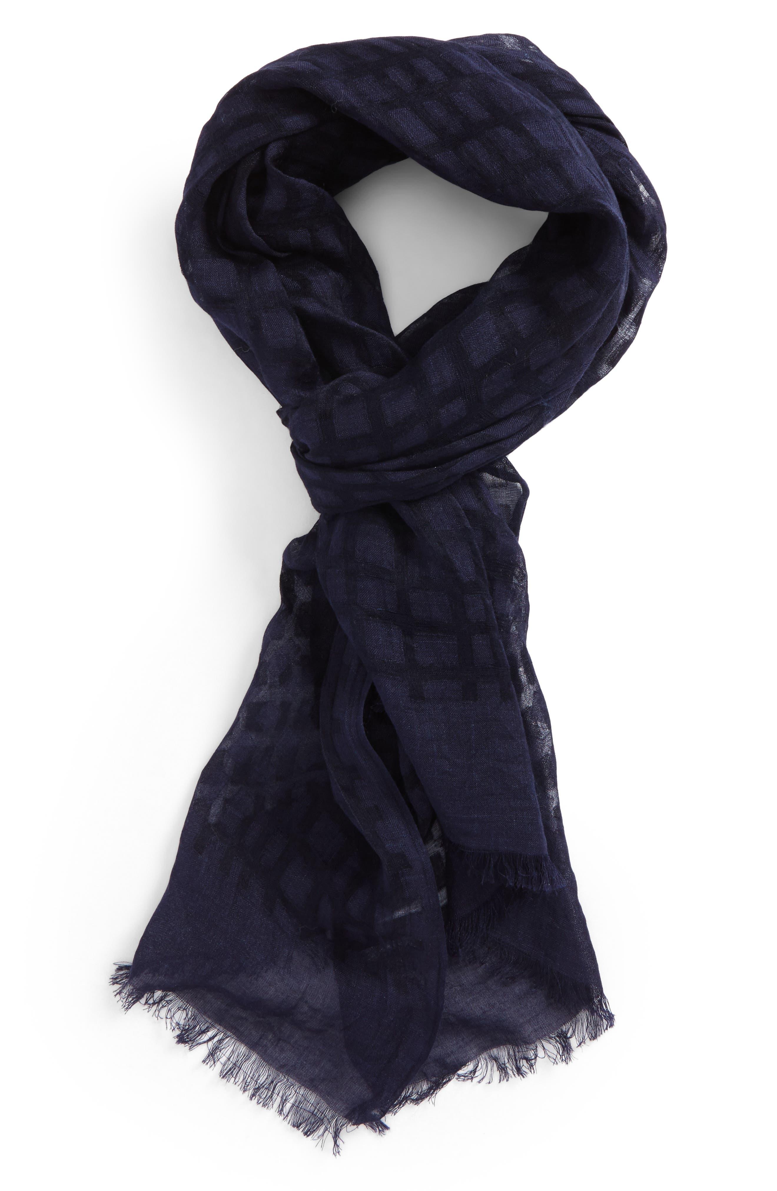 Y's by Yohji Yamamoto Plaid Silk & Linen Scarf