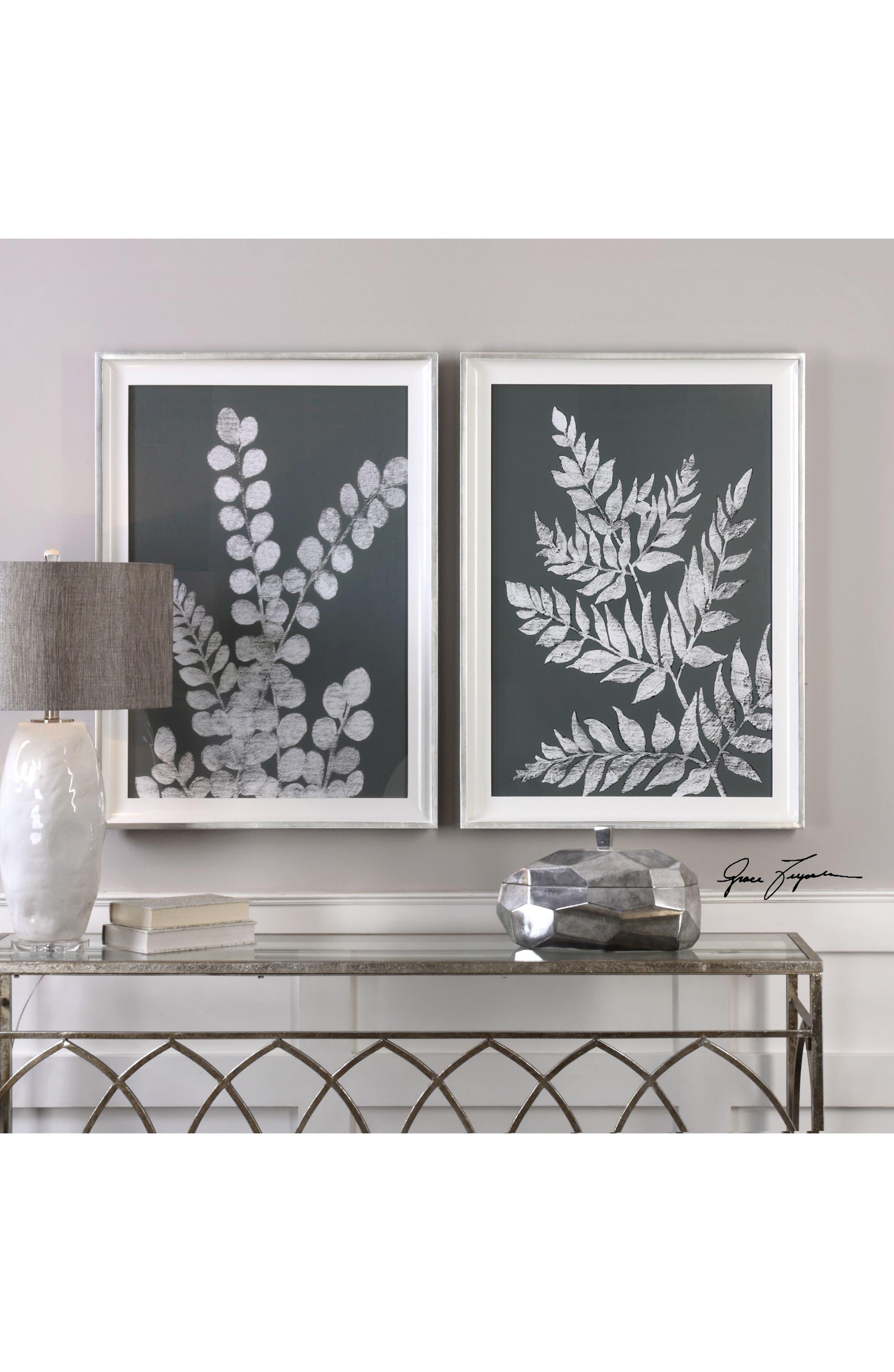 White Ferns 2-Piece Wall Art Set,                             Alternate thumbnail 2, color,                             Black