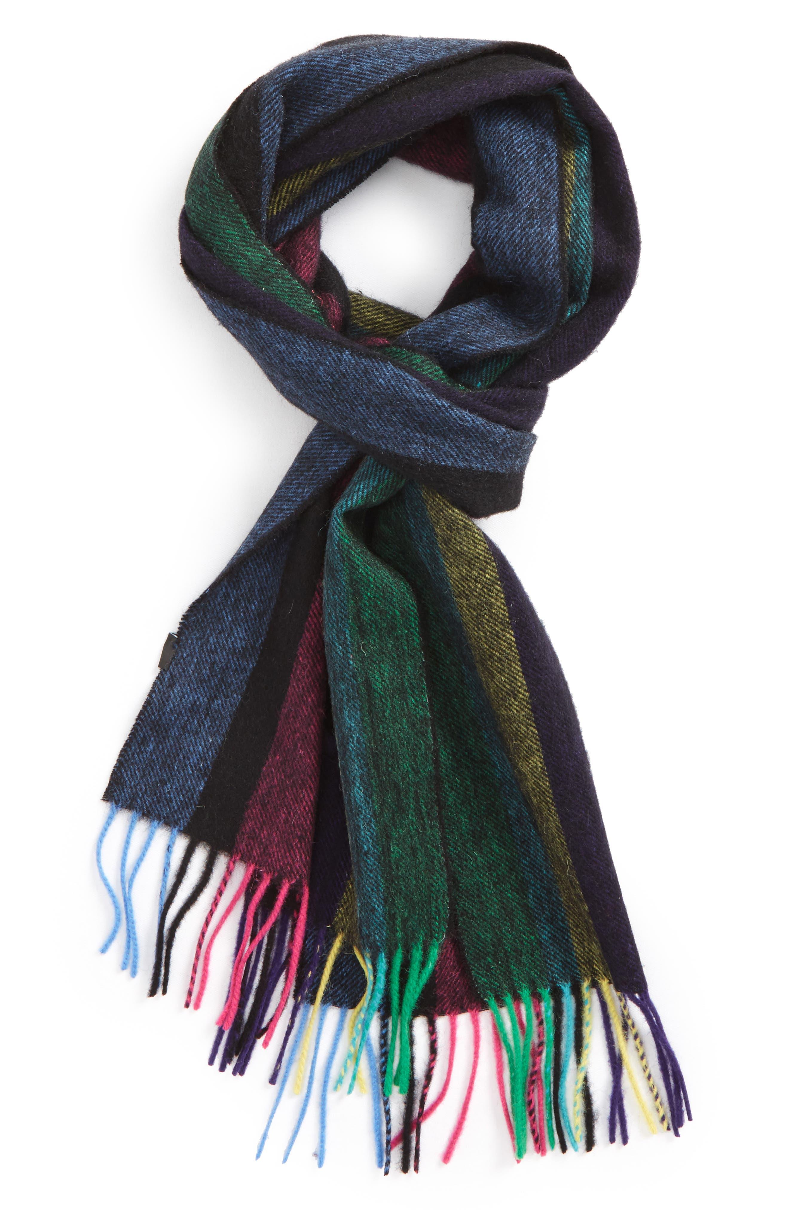 Stripe Wool Scarf,                         Main,                         color, Black