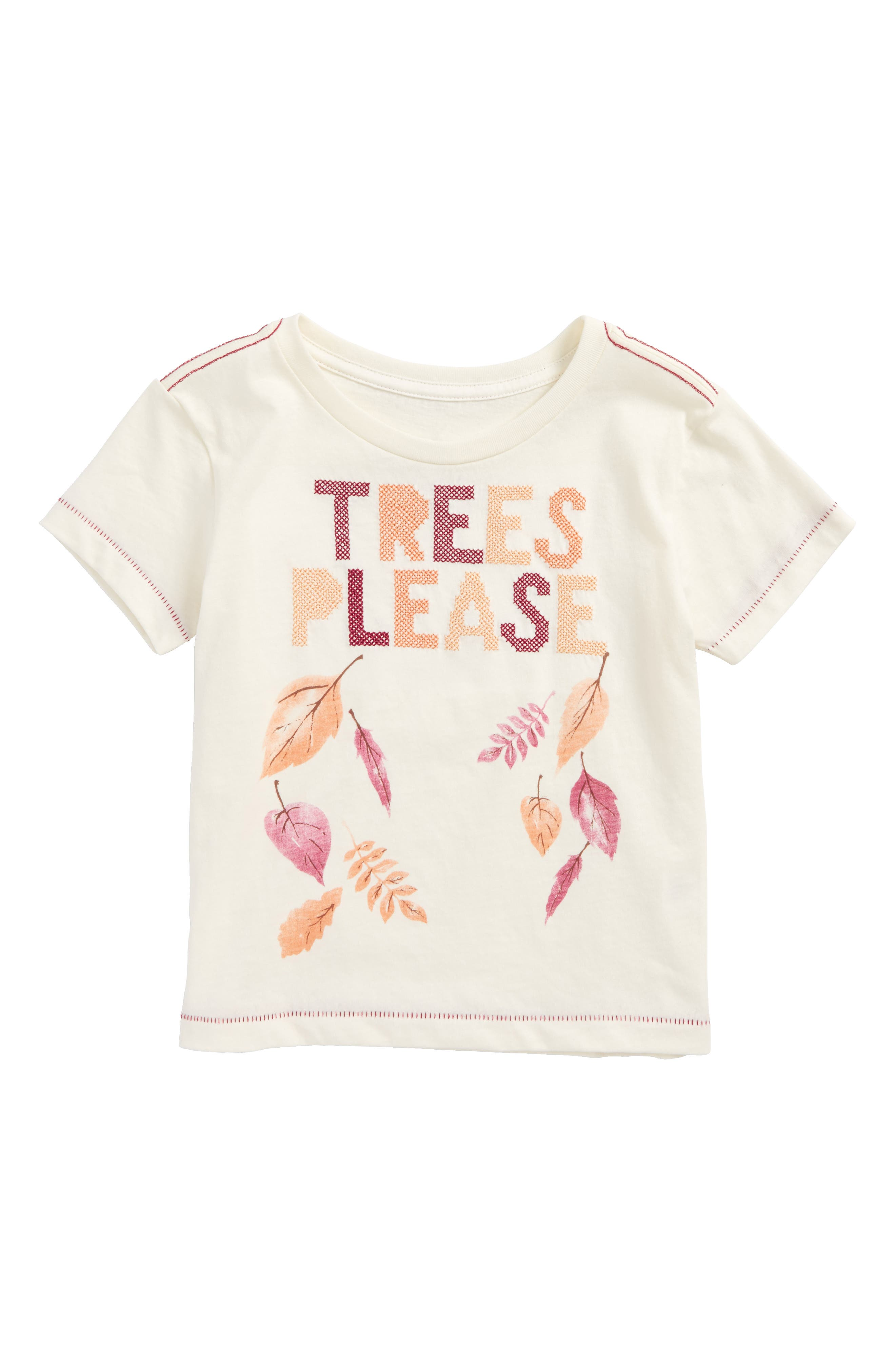 Trees Please Embroidered Graphic Tee,                         Main,                         color, Ivory