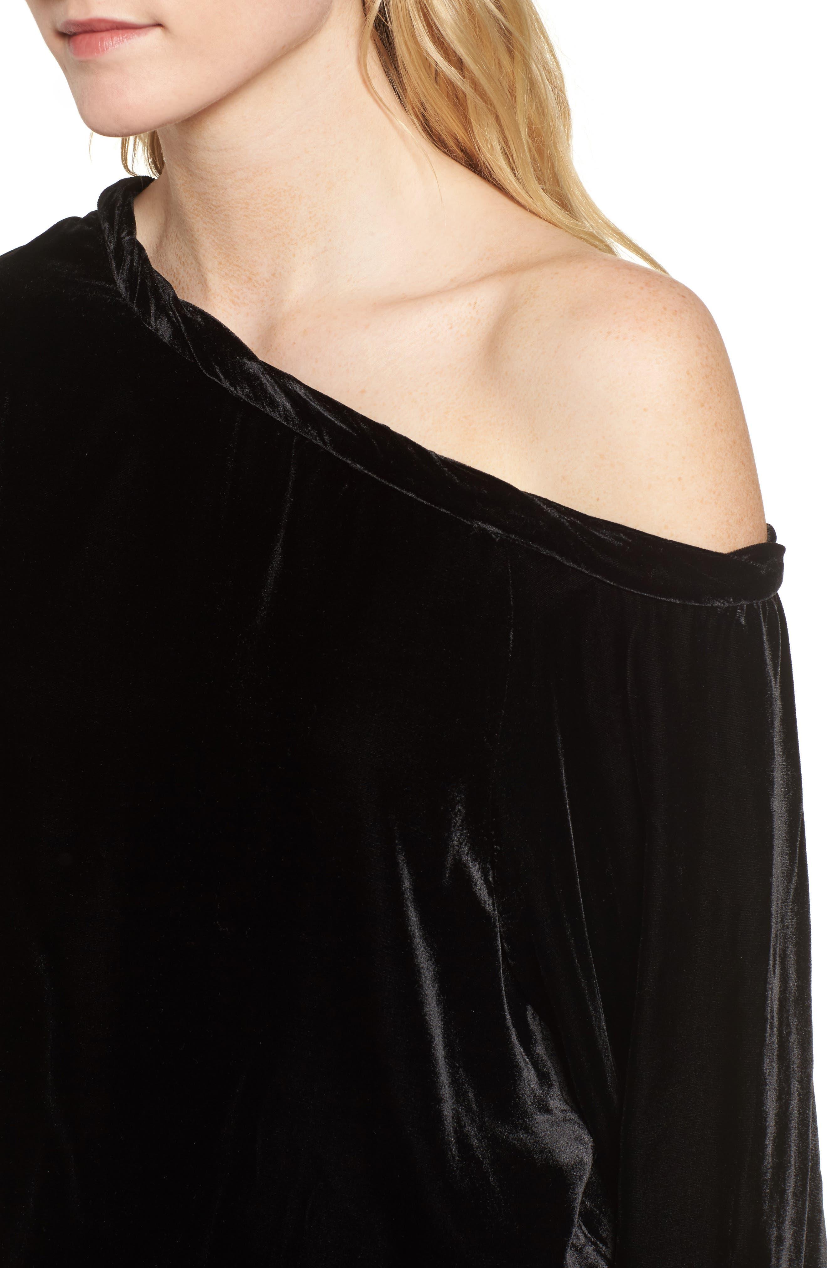 Alternate Image 4  - KENDALL + KYLIE Off the Shoulder Velvet Top
