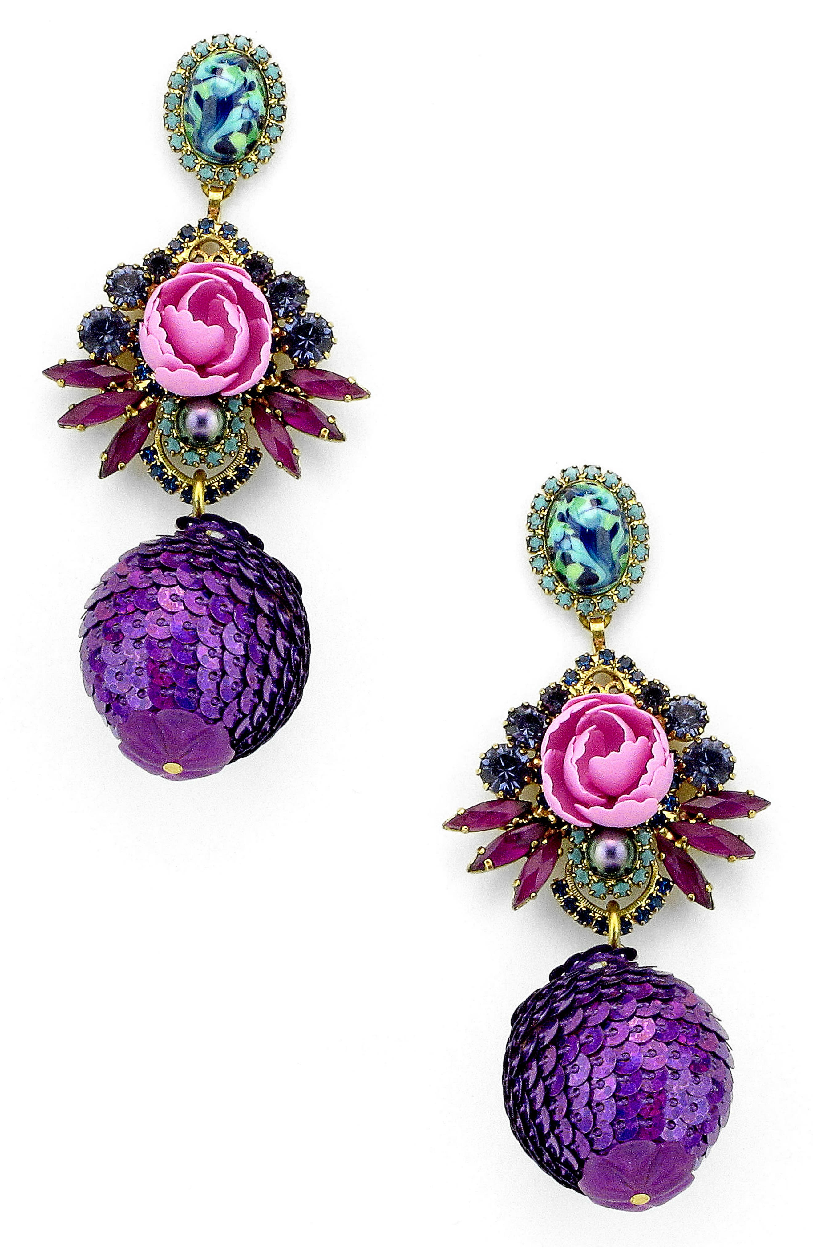 Octavia Drop Earrings,                         Main,                         color, Purple