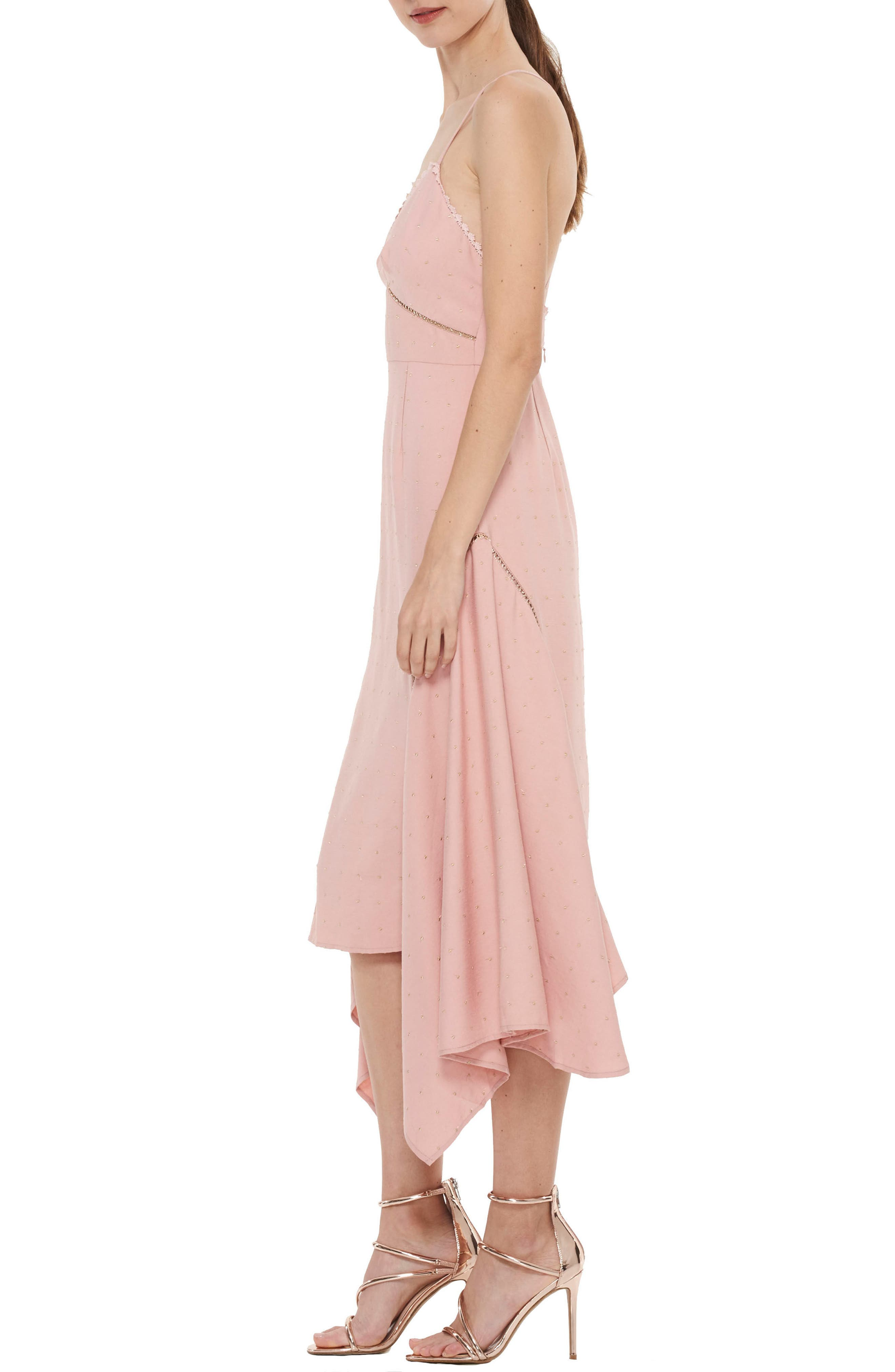 Penelope Embellished Godet Dress,                             Alternate thumbnail 3, color,                             Rose Dust W Gold Spot