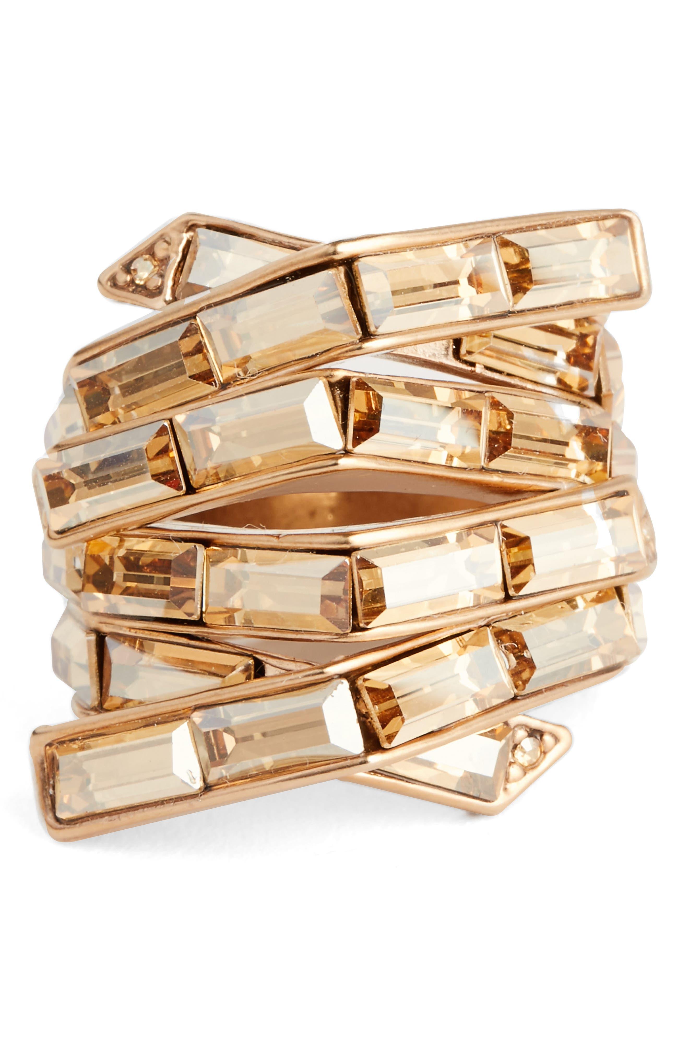 Swarovski Crystal Cocktail Ring,                             Main thumbnail 1, color,                             Rose Gold