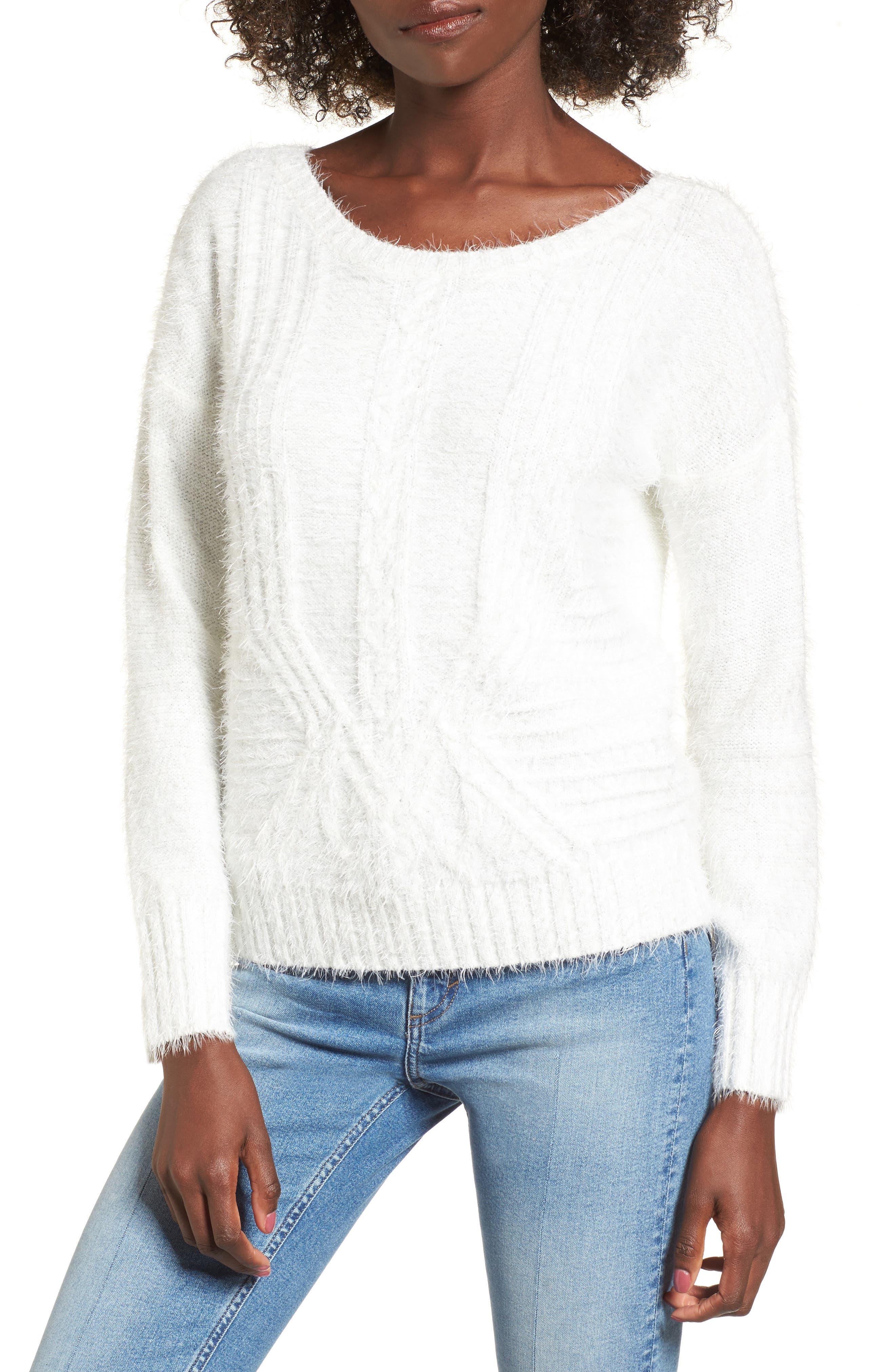 Emily Eyelash Knit Sweater,                         Main,                         color, White