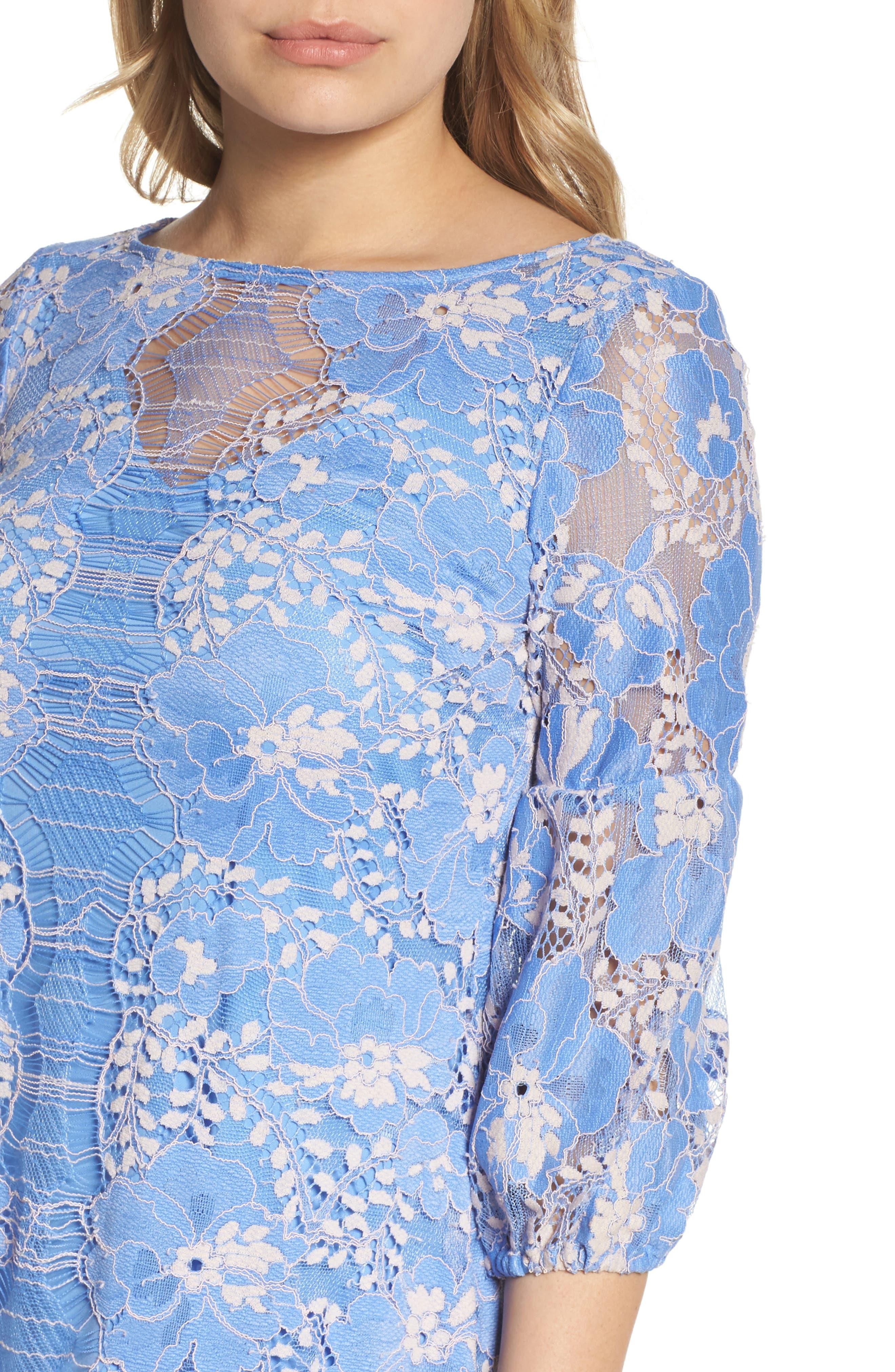 Lace Shift Dress,                             Alternate thumbnail 4, color,                             Blue/ Blush