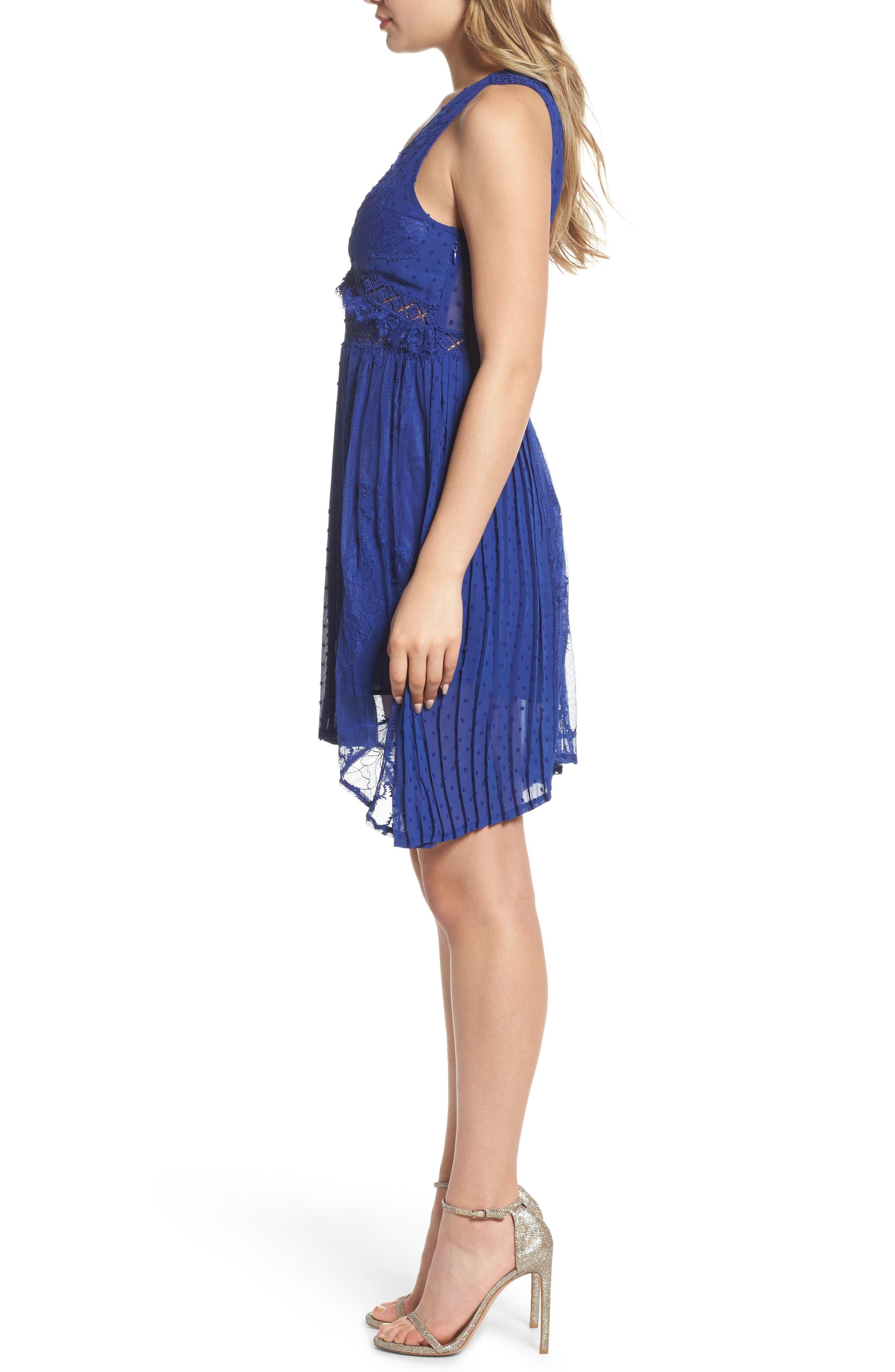Babette Lace Inset Party Dress,                             Alternate thumbnail 3, color,                             Navy