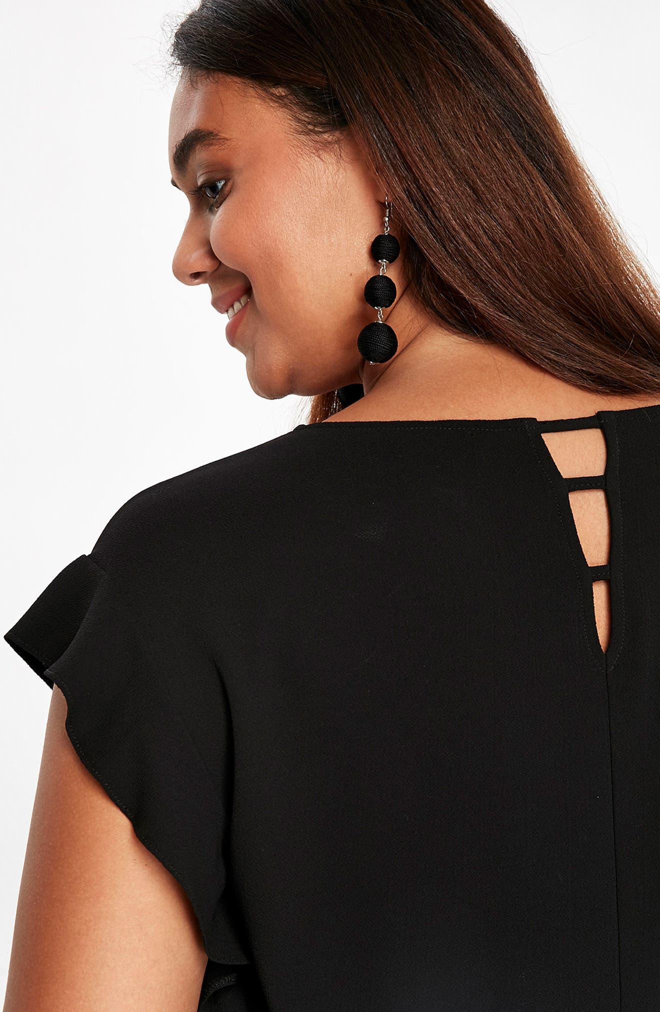 Alternate Image 4  - Evans Ruffle Sleeve Shift Dress (Plus Size)