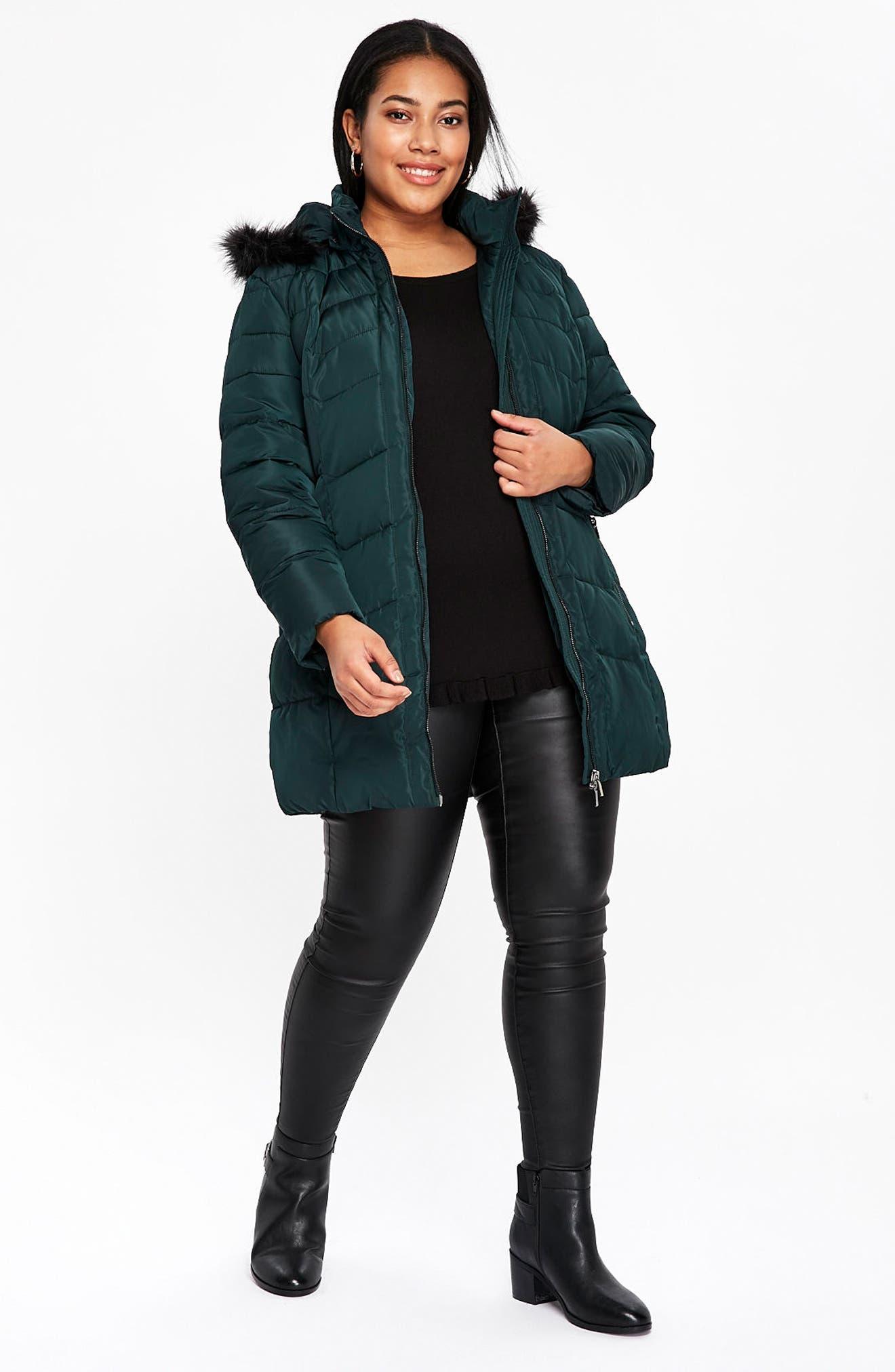 Padded Coat with Faux Fur Trim,                             Alternate thumbnail 2, color,                             Dark Green