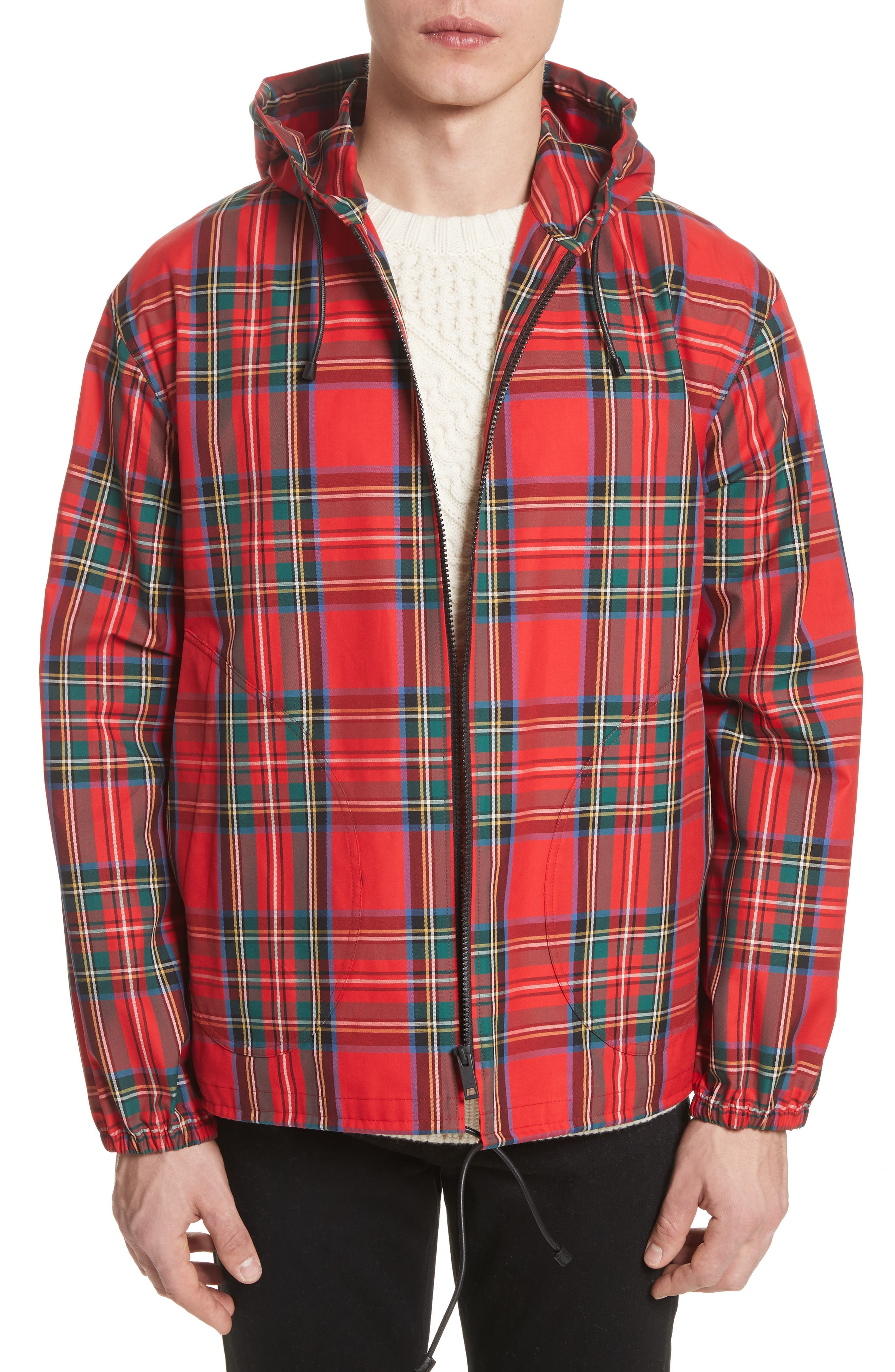 Tartan Twill Hooded Jacket,                             Main thumbnail 1, color,                             Bright Red