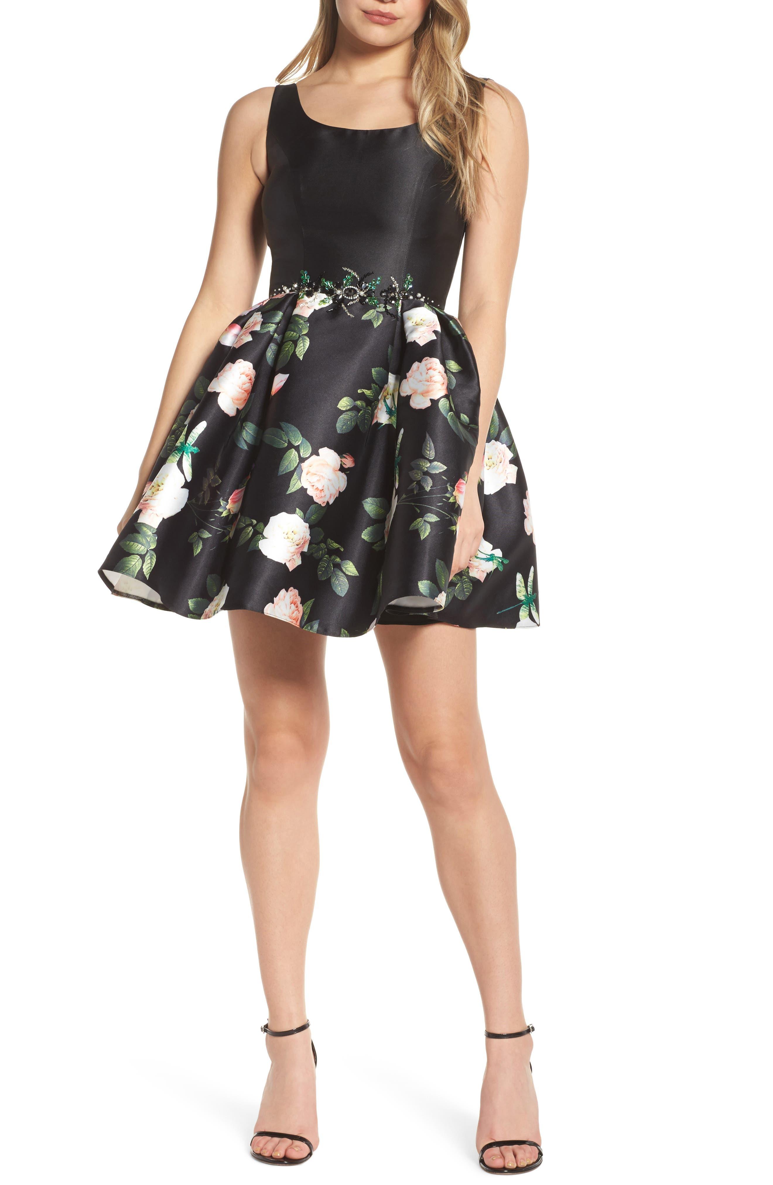 Floral Fit & Flare Dress,                         Main,                         color, Black Floral