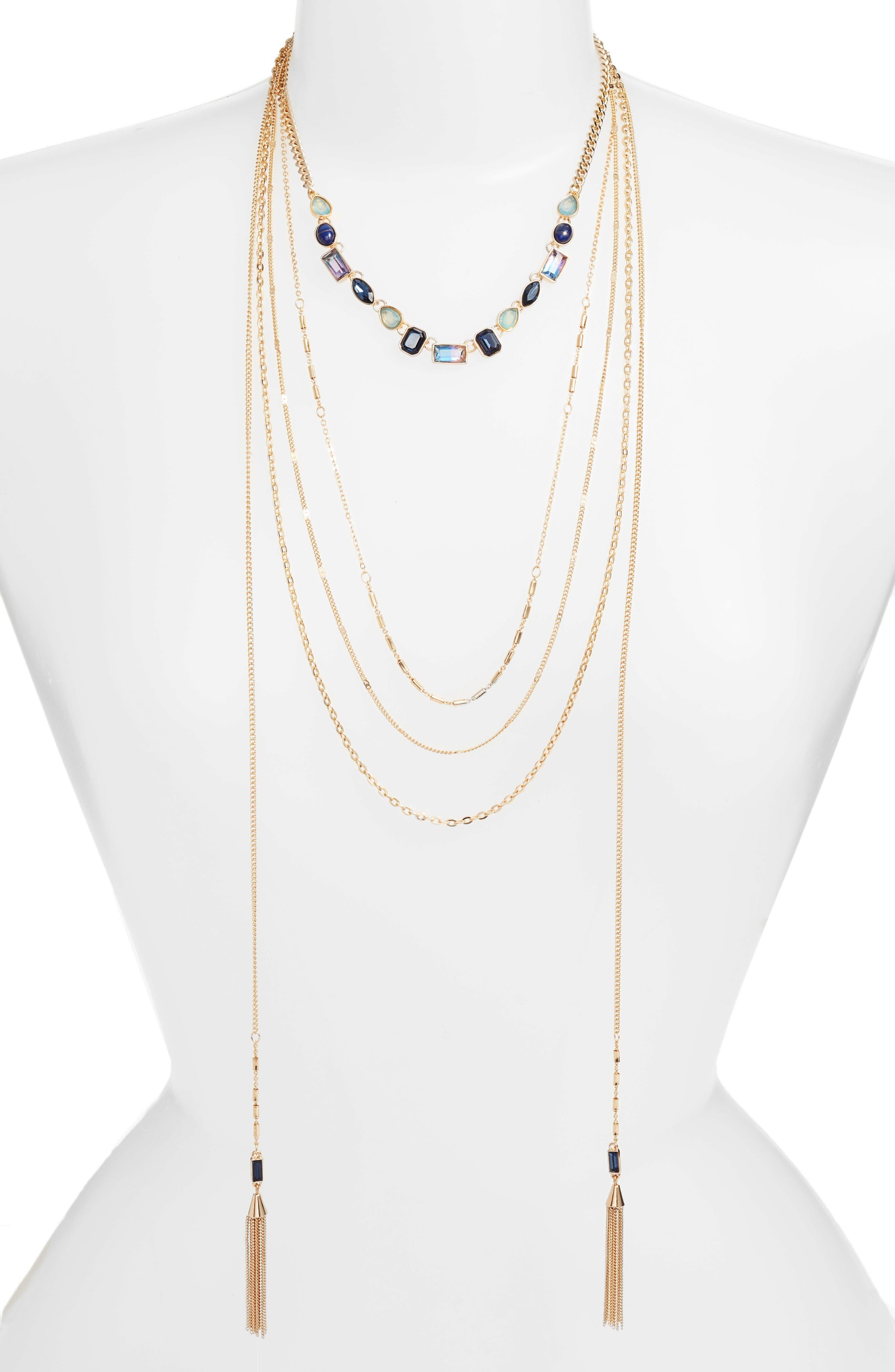 Crystal Multistrand Choker Necklace,                             Main thumbnail 1, color,                             Blue Multi- Gold