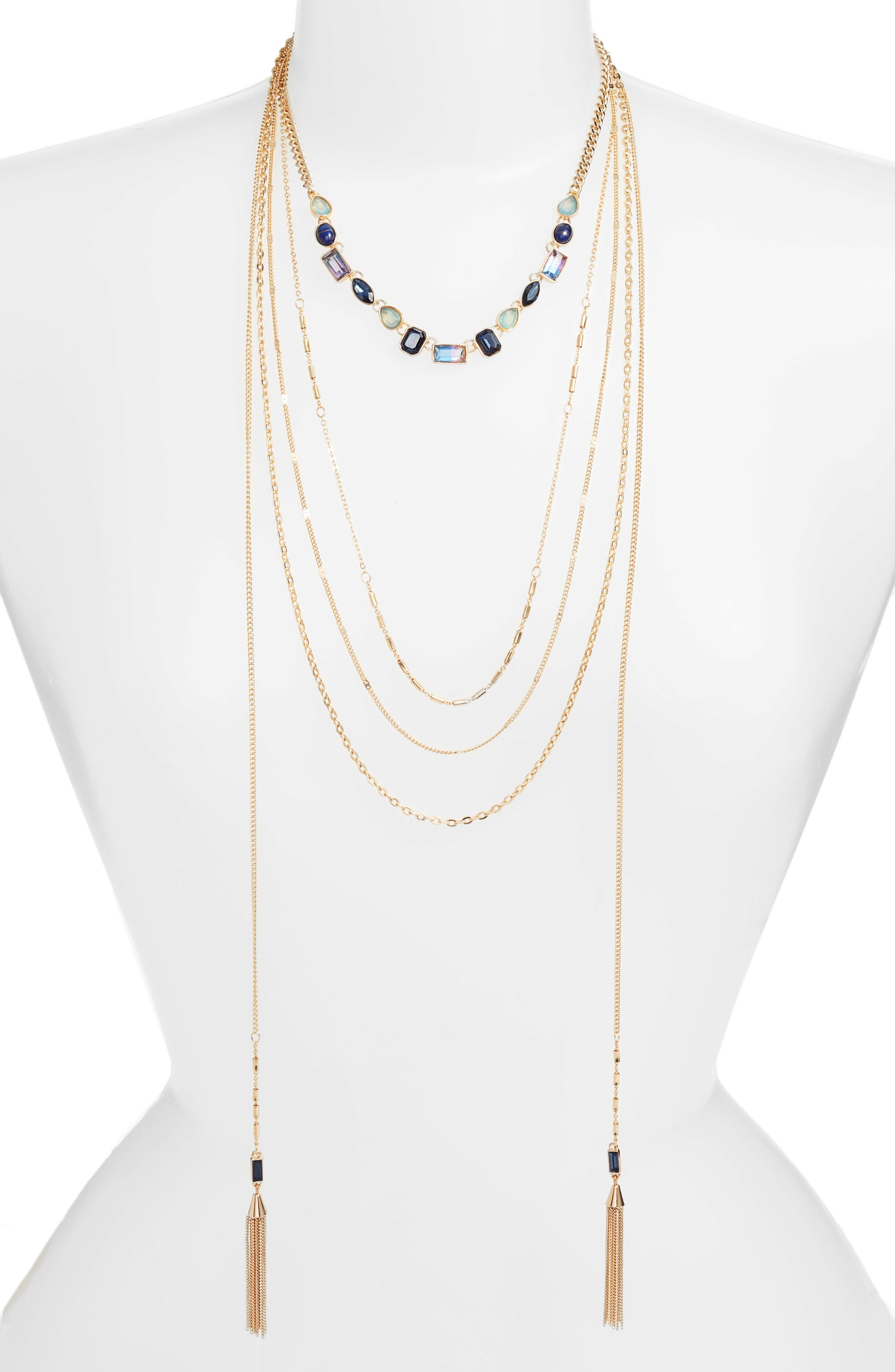 Crystal Multistrand Choker Necklace,                         Main,                         color, Blue Multi- Gold