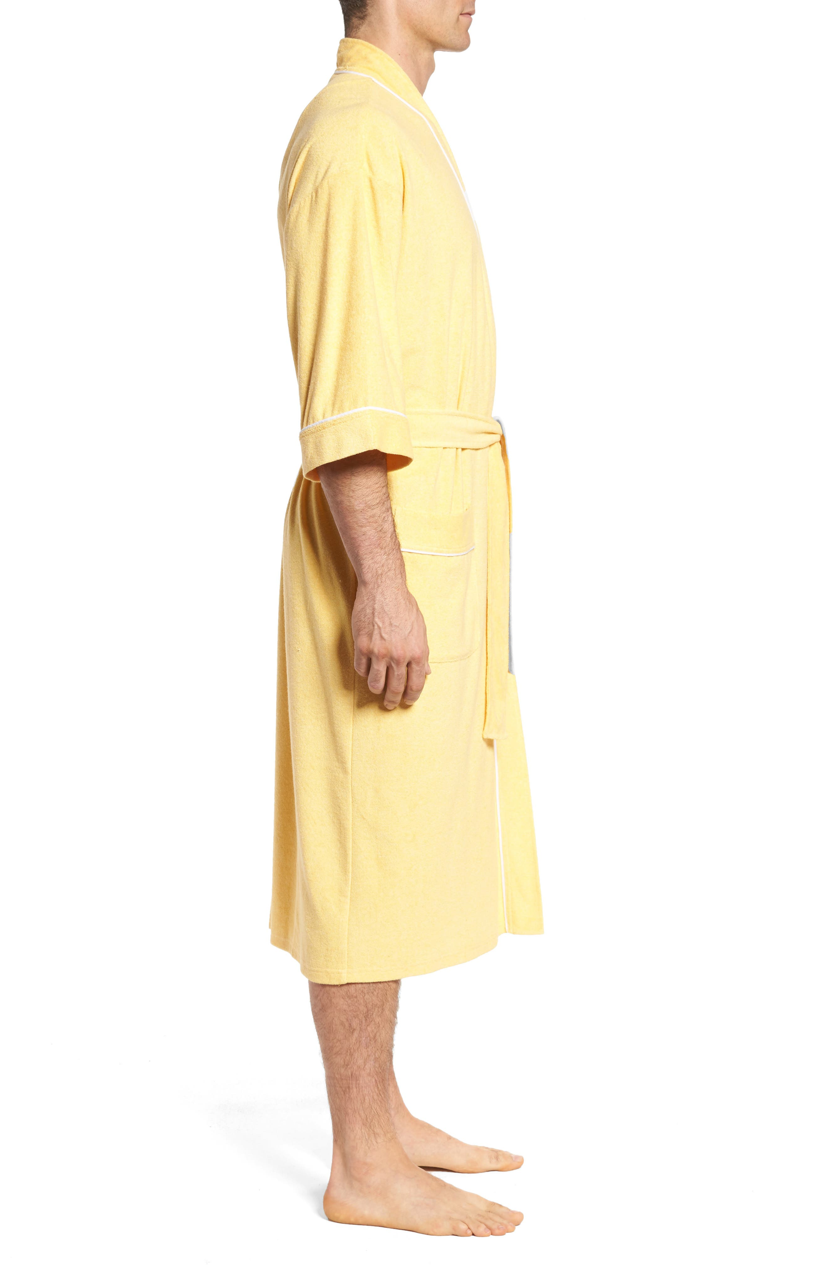 Kimono Cotton Blend Robe,                             Alternate thumbnail 3, color,                             Shine