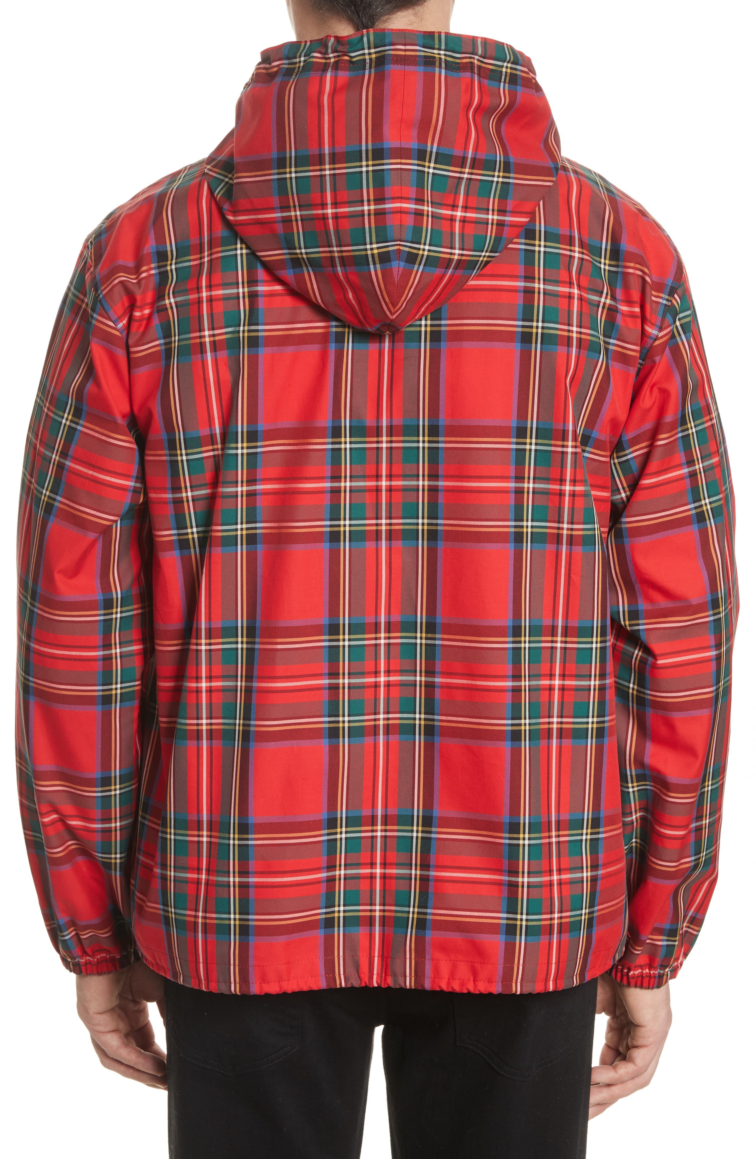Tartan Twill Hooded Jacket,                             Alternate thumbnail 2, color,                             Bright Red