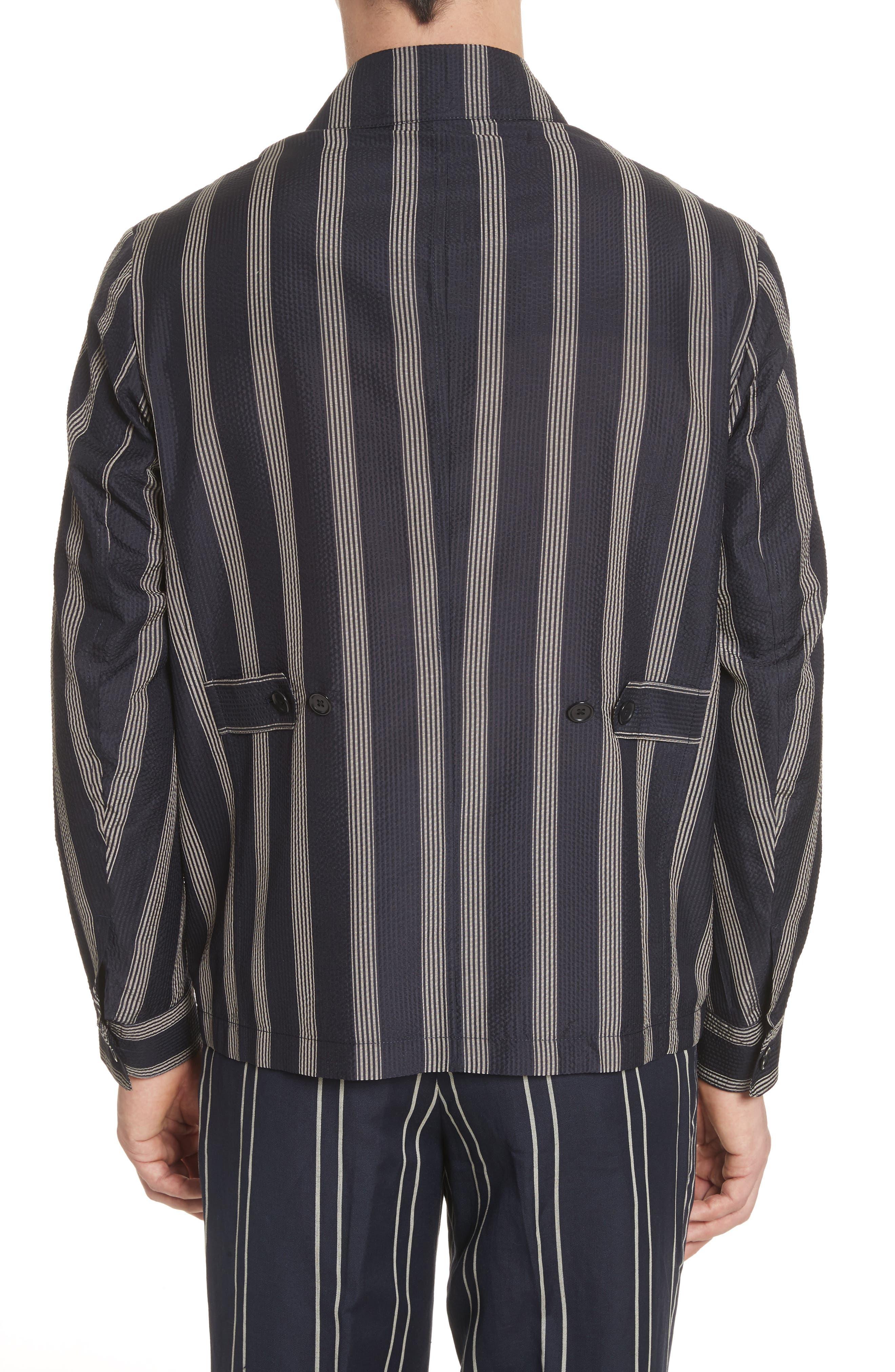 Stripe Silk Shirt,                             Alternate thumbnail 3, color,                             Black/White
