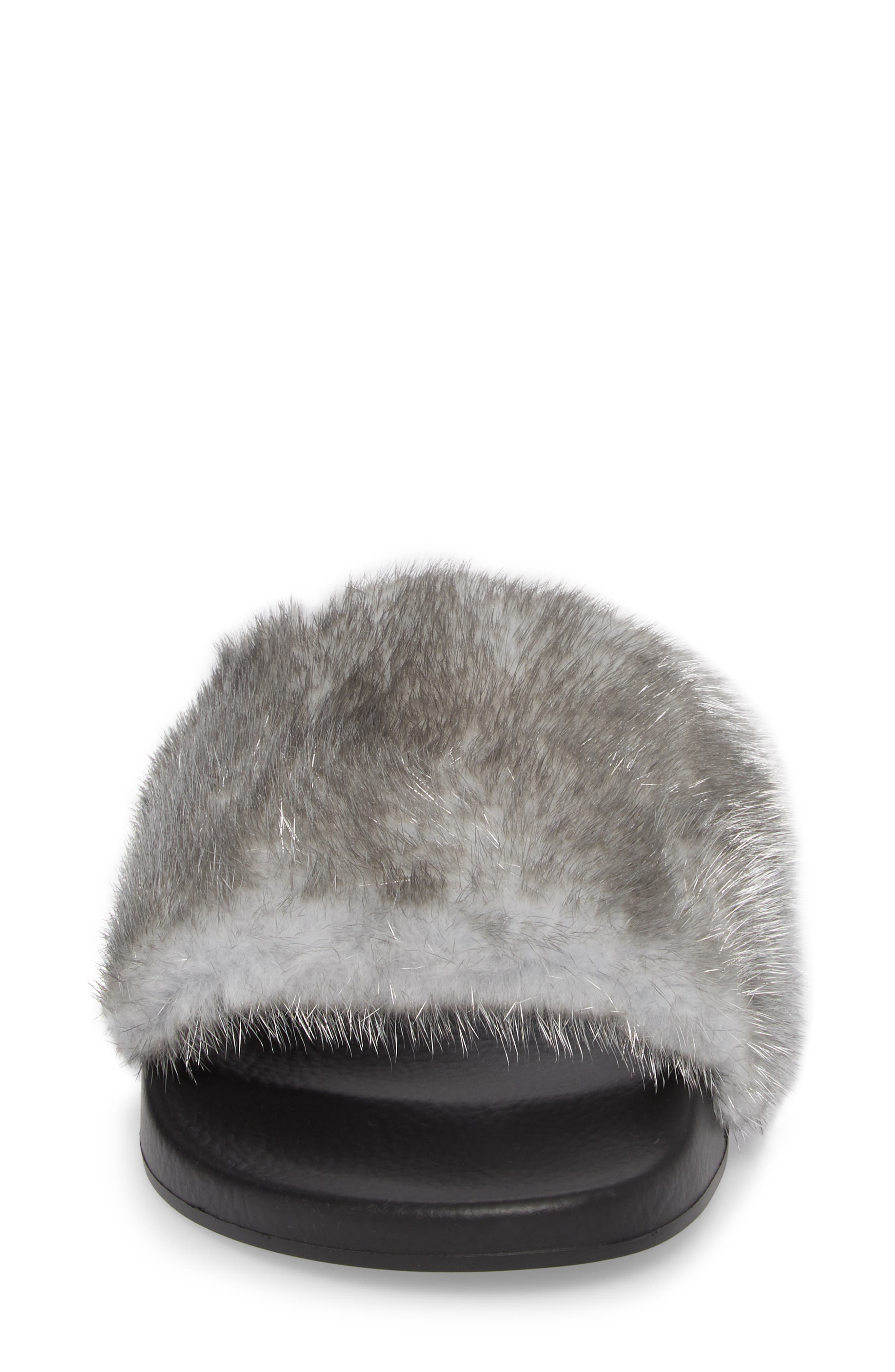 Genuine Mink Fur Slide Sandal,                             Alternate thumbnail 4, color,                             Silver