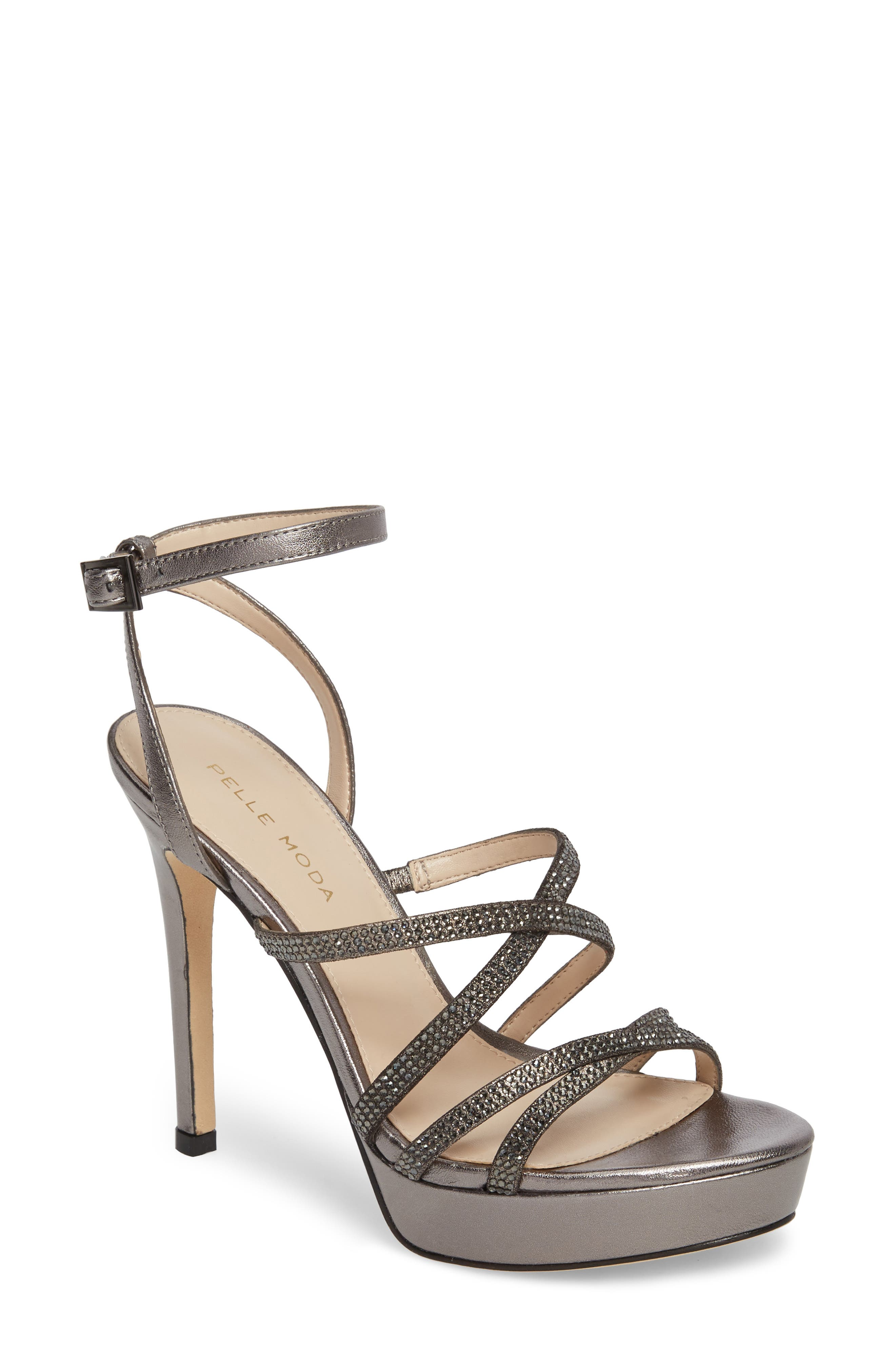 Oak Platform Sandal,                             Main thumbnail 1, color,                             Pewter Metallic Suede