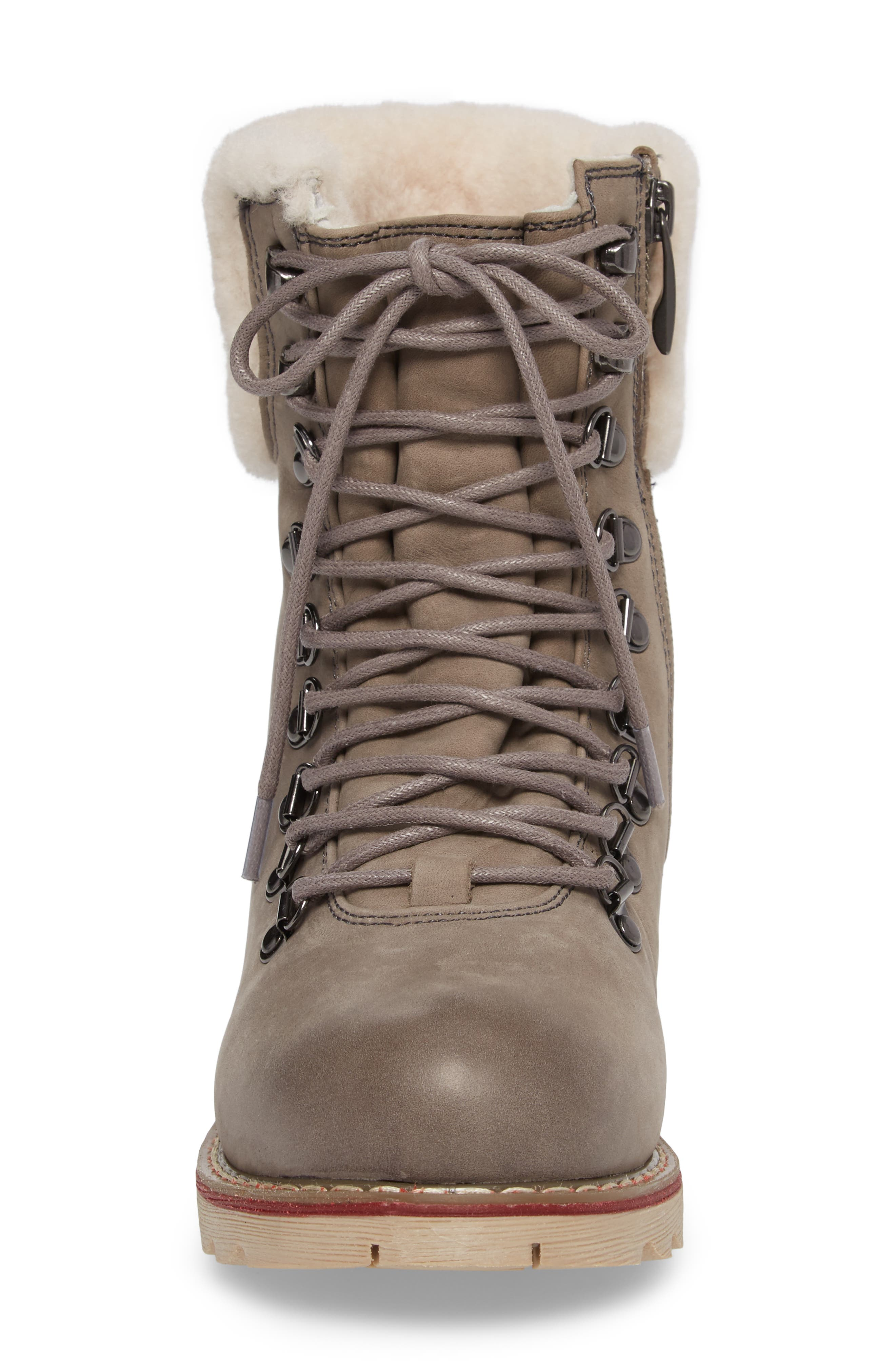 Lethbridge Waterproof Snow Boot with Genuine Shearling Cuff,                             Alternate thumbnail 4, color,                             Grey Leather