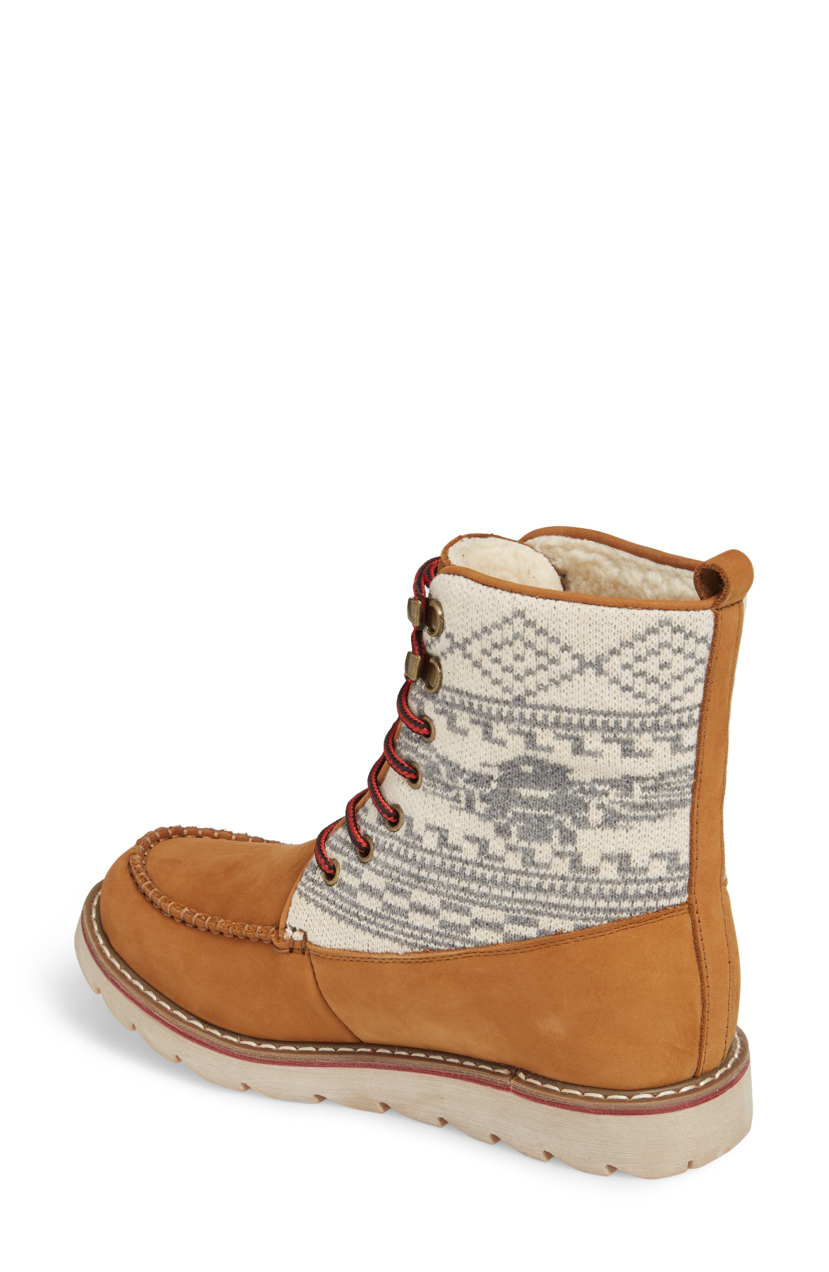 Patterned Waterproof Snow Boot,                             Alternate thumbnail 2, color,                             Tan Leather