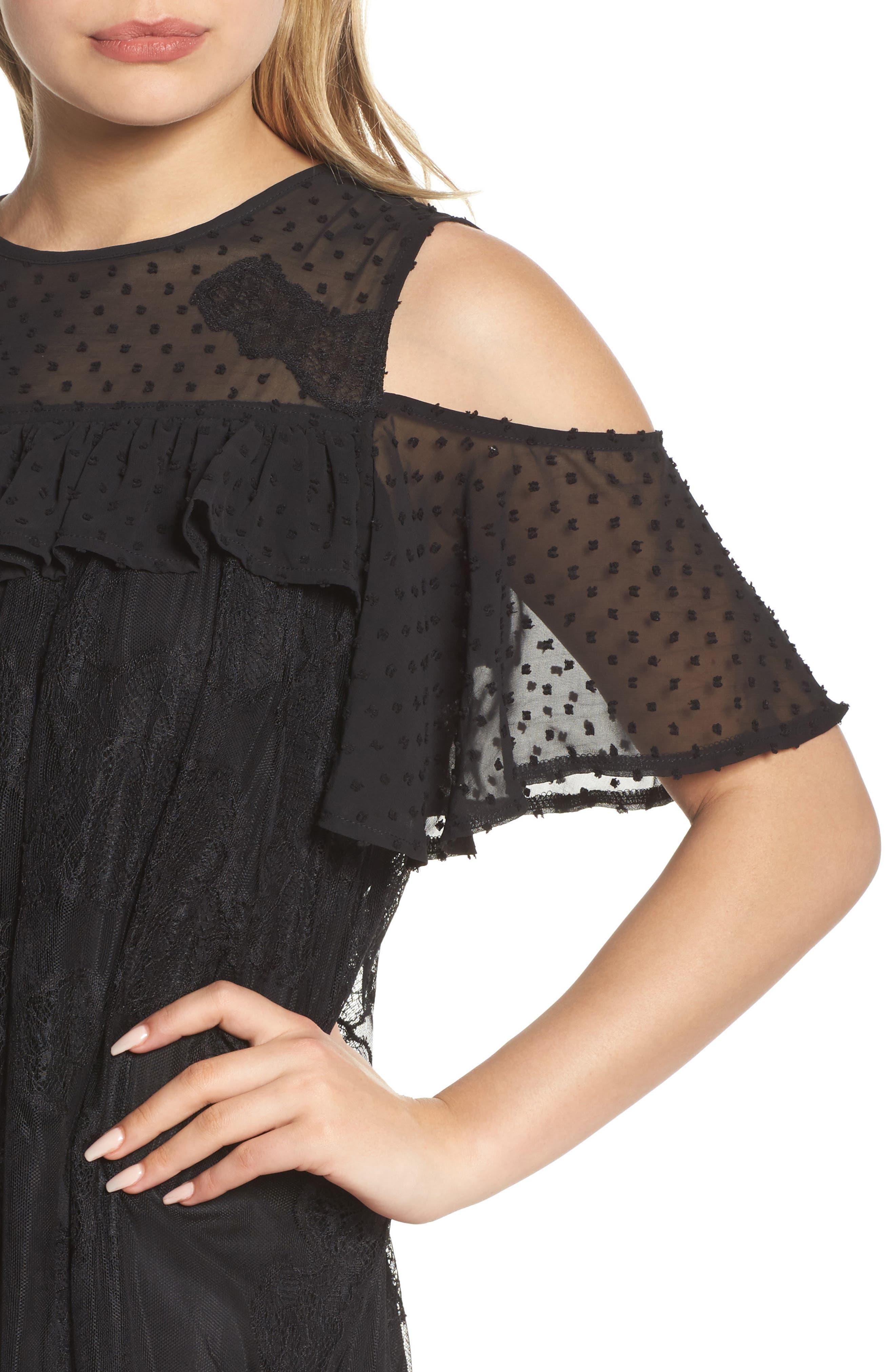 Babette Cold Shoulder Trapeze Dress,                             Alternate thumbnail 4, color,                             Black