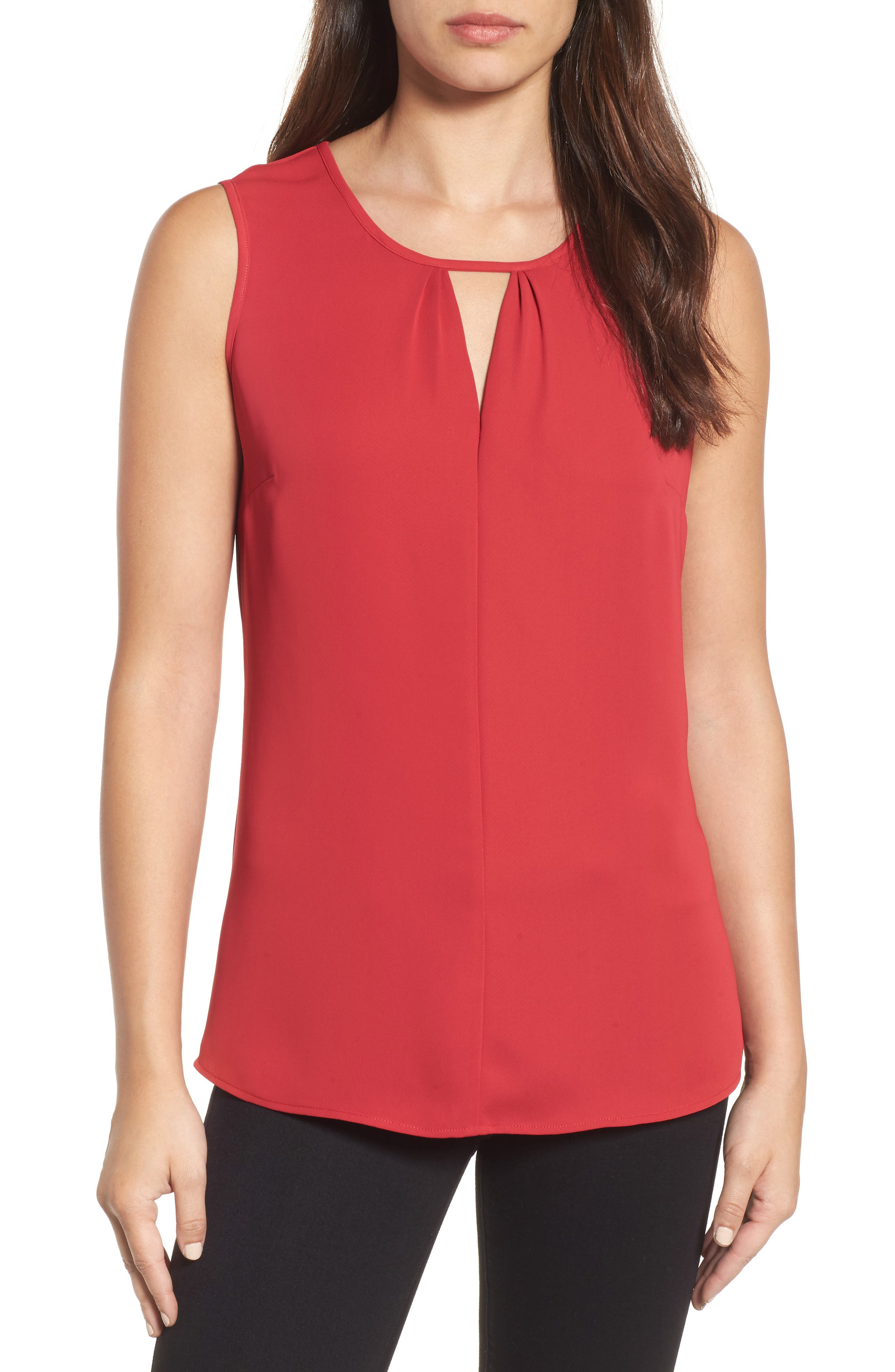 Keyhole Neck Top,                             Main thumbnail 1, color,                             True Red