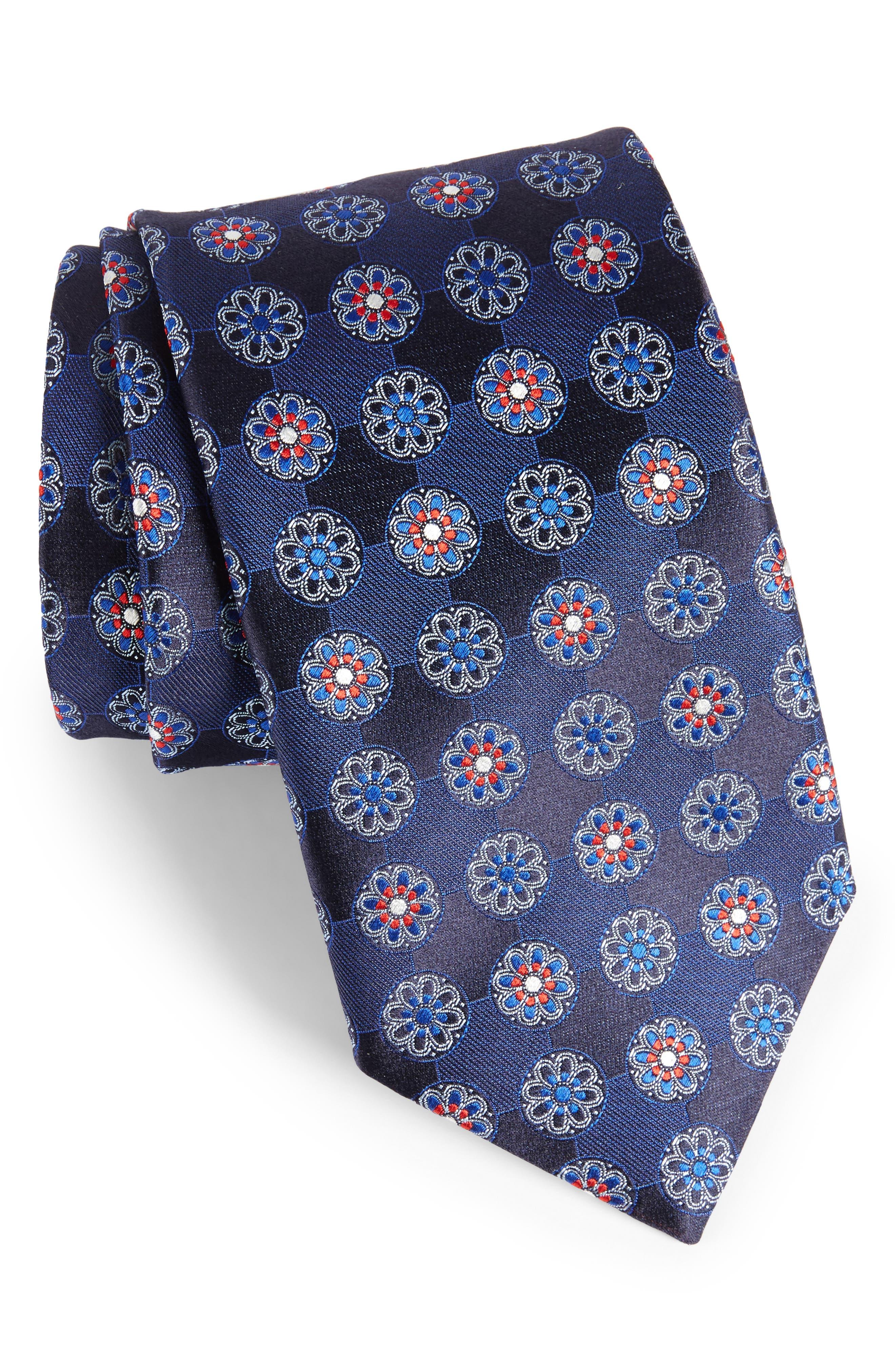 Main Image - Canali Medallion Silk Tie (X-Long)