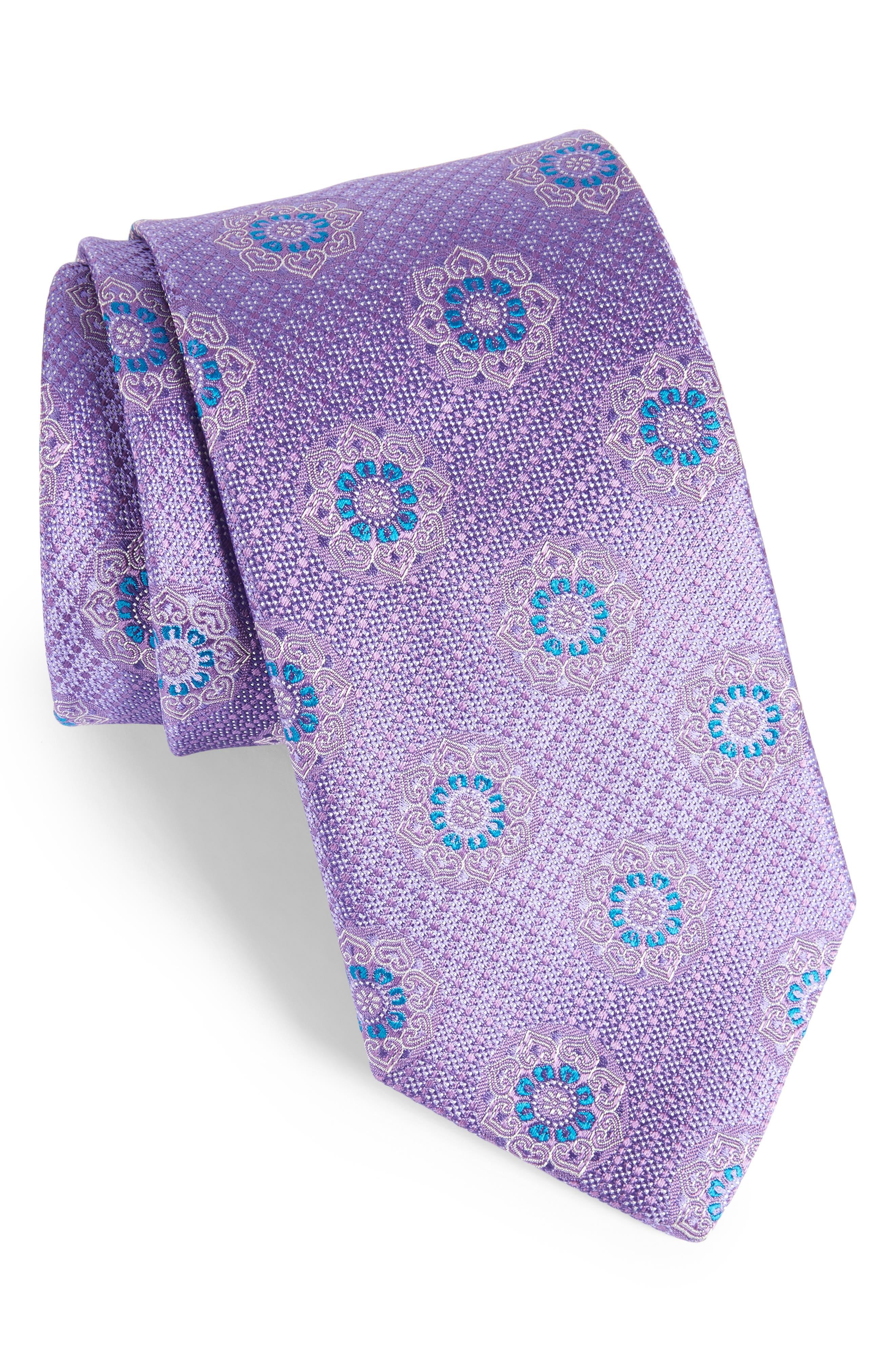 Medallion Silk Tie,                             Main thumbnail 1, color,                             Light Purple