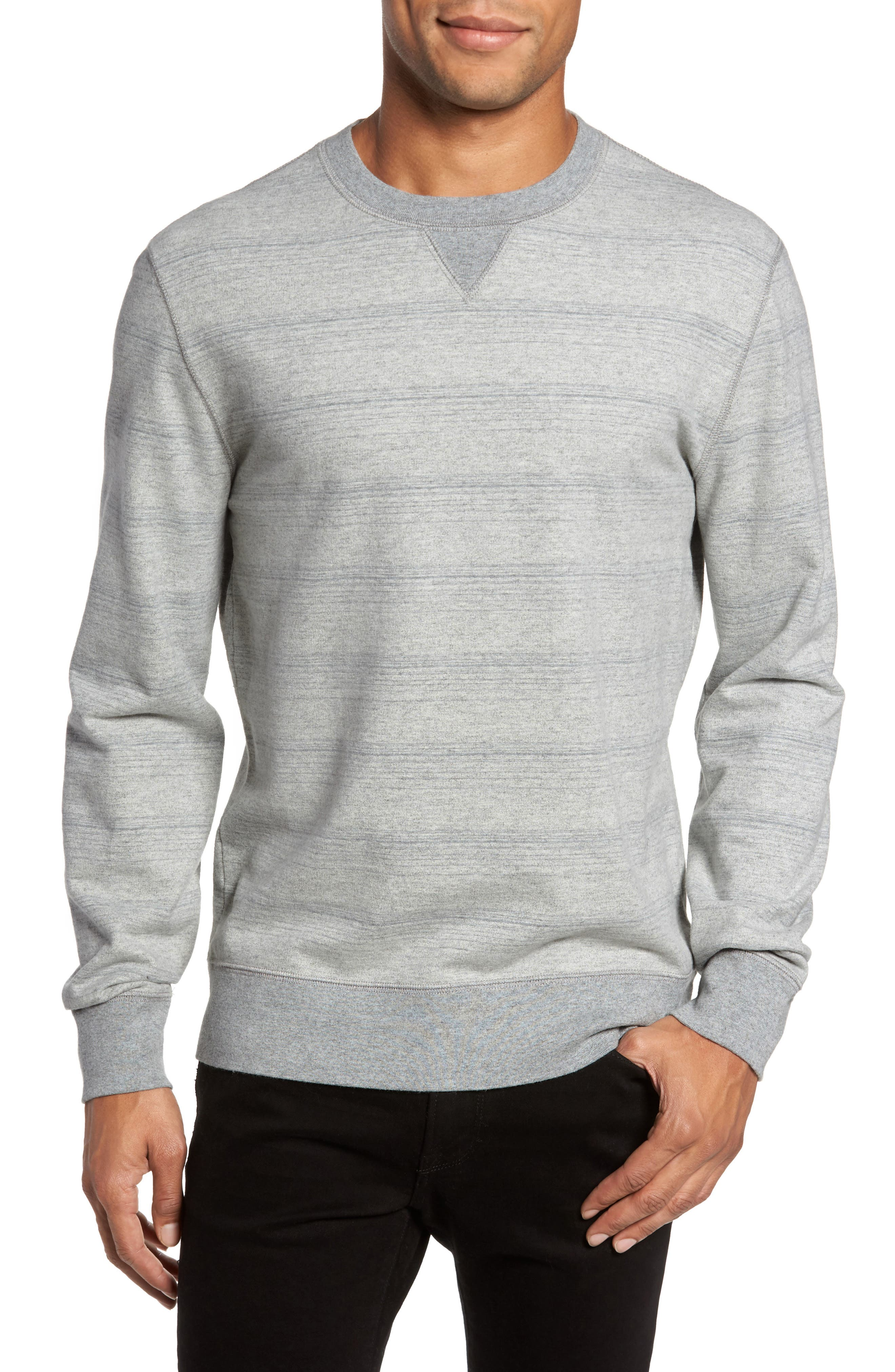 Striped Crewneck Sweater,                             Main thumbnail 1, color,                             Grey Mix