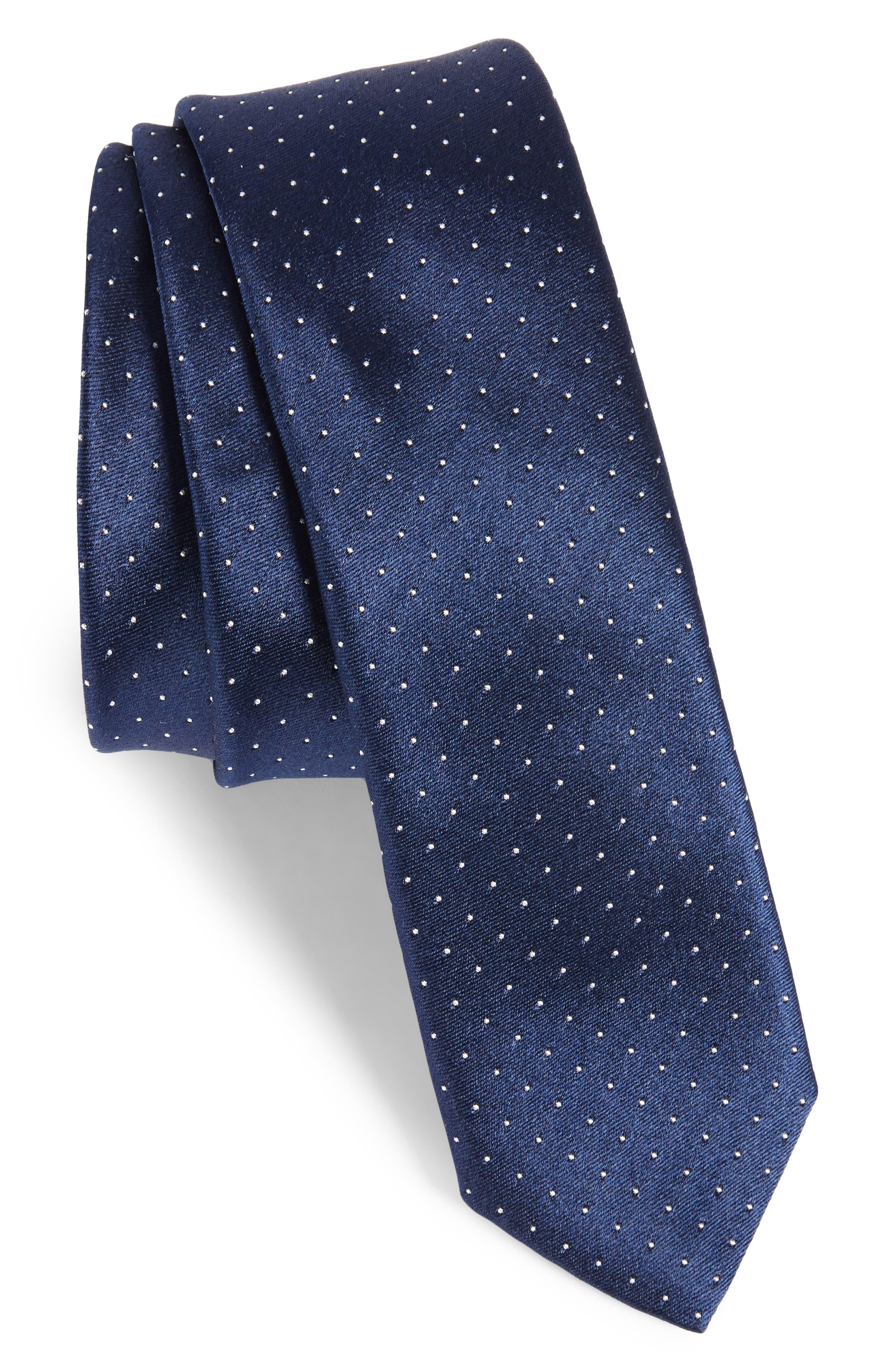 Dot Silk Skinny Tie,                             Main thumbnail 1, color,                             Navy