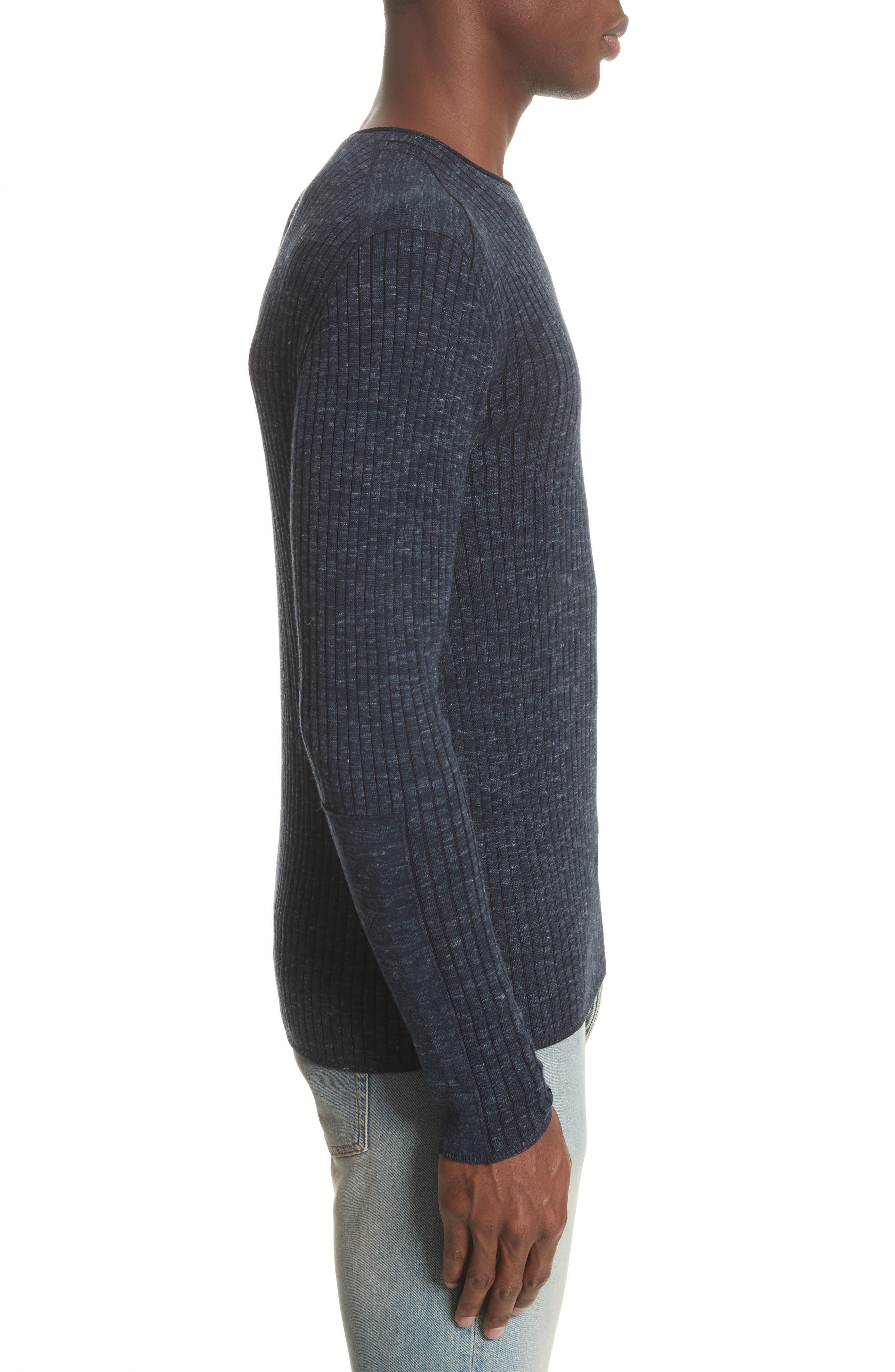 Alternate Image 3  - John Varvatos Collection Mélange Stripe Sweater