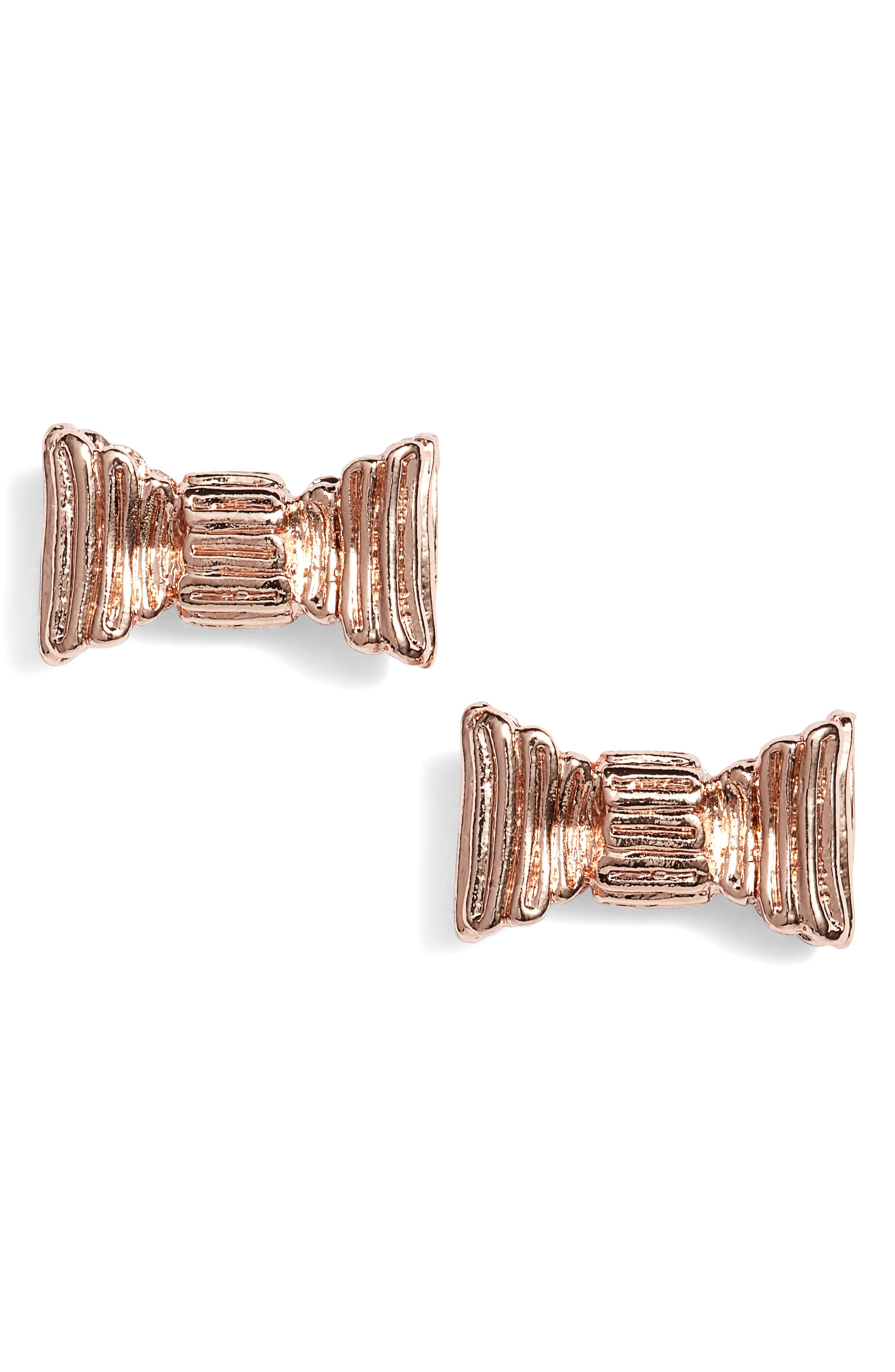 all wrapped up stud earrings,                             Main thumbnail 1, color,                             Rose Gold