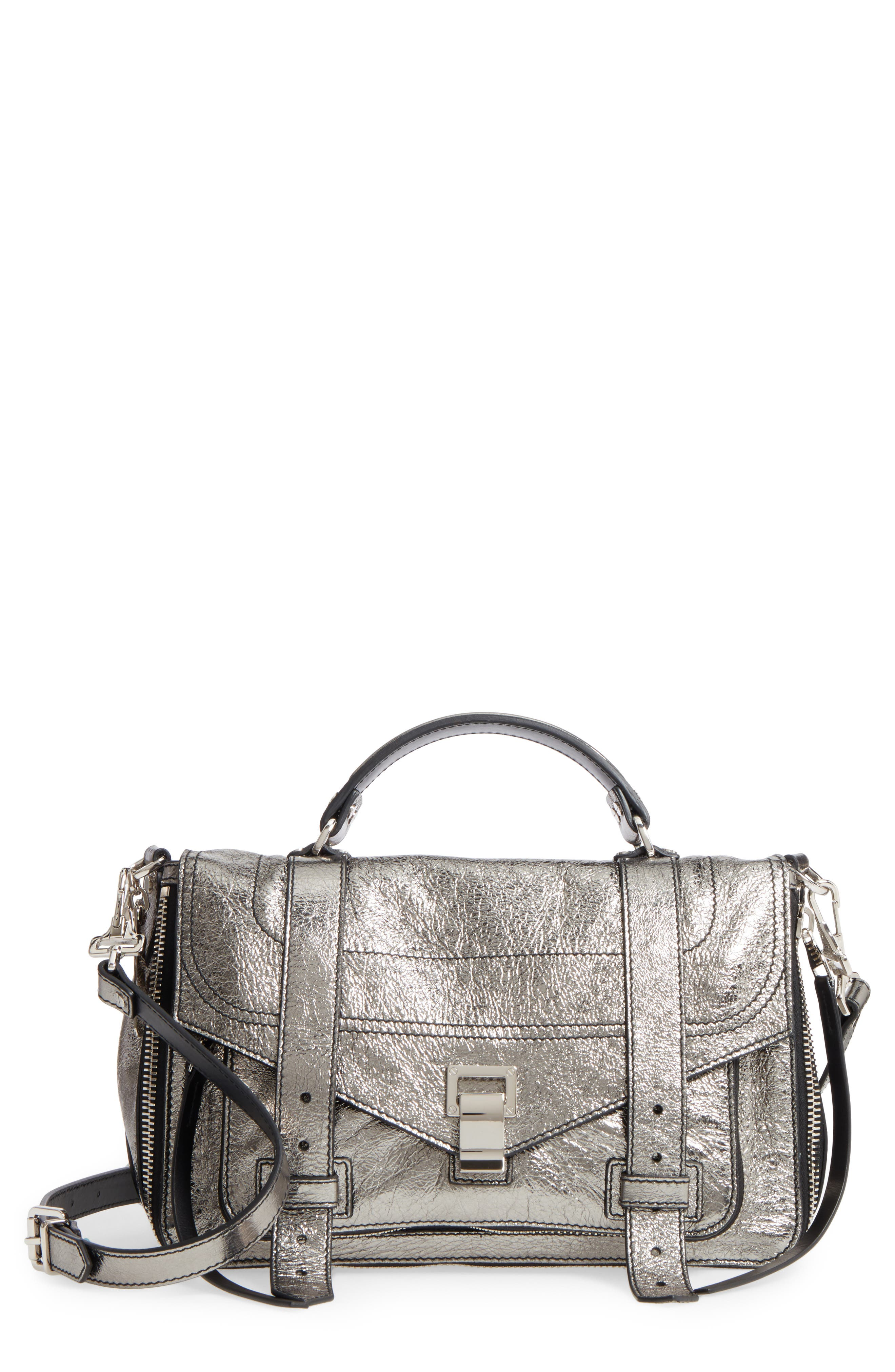 Medium PS1 Metallic Calfskin Satchel,                         Main,                         color, Dark Silver