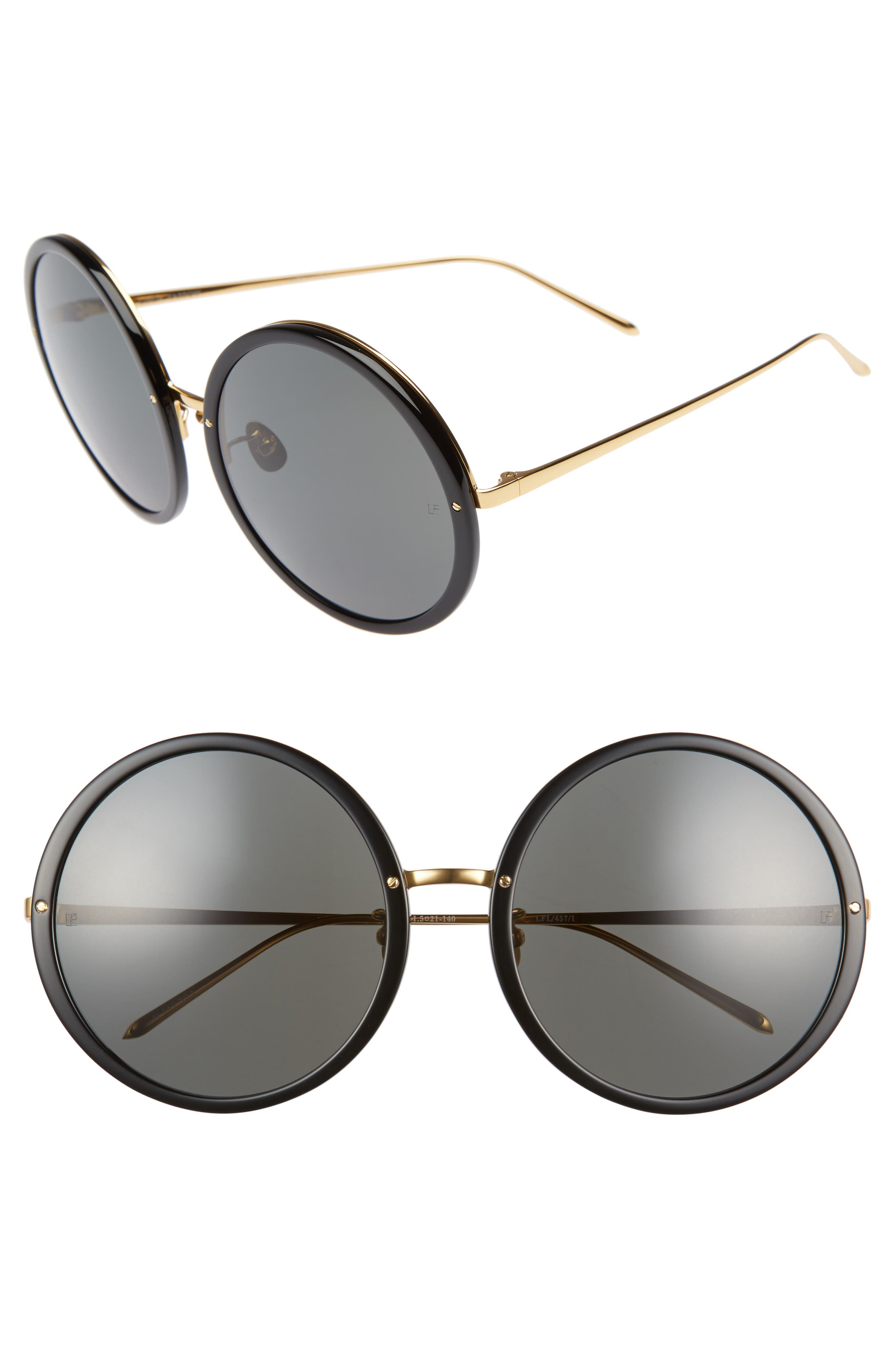 61mm Round 18 Karat Gold Trim Sunglasses,                         Main,                         color, Black/ Yellow Gold/ Grey