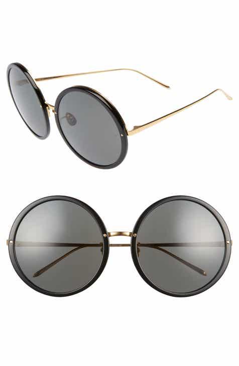 201f937b4f Linda Farrow 61mm Round 18 Karat Gold Trim Sunglasses