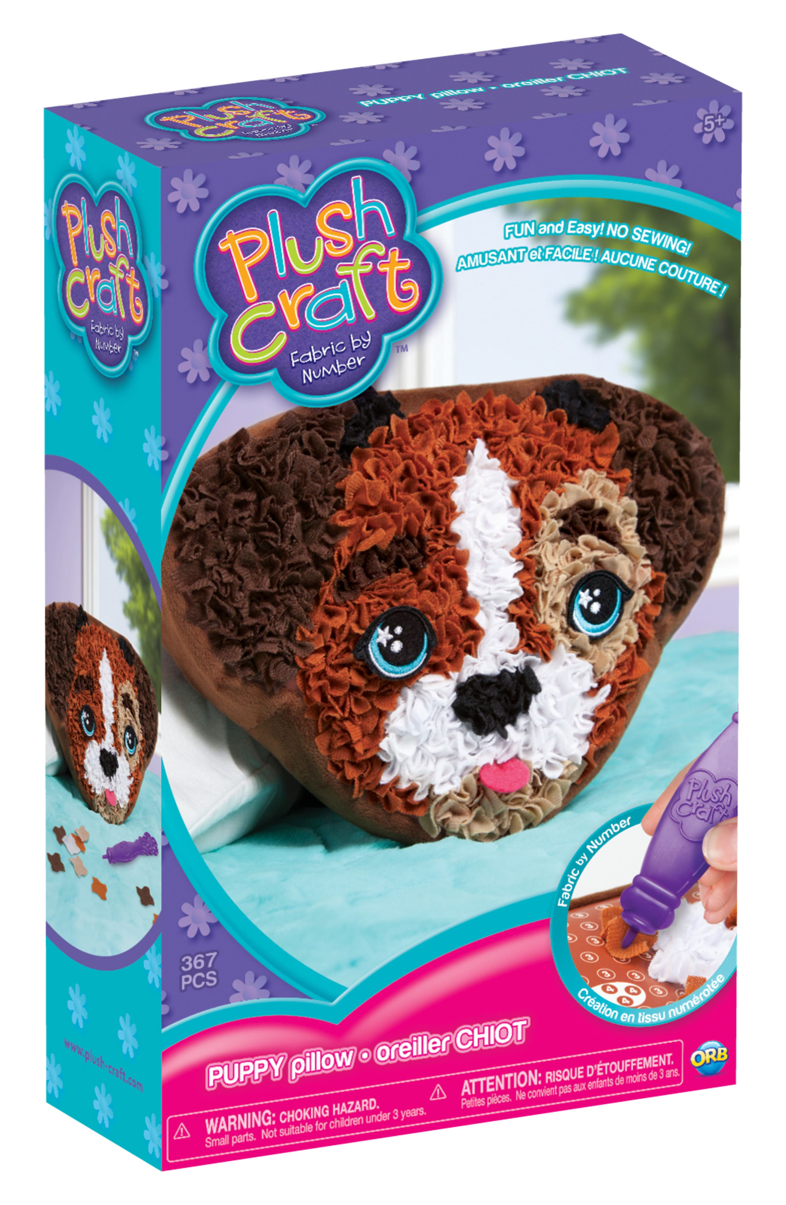 PlushCraft Puppy Pillow Craft Kit,                         Main,                         color, Brown