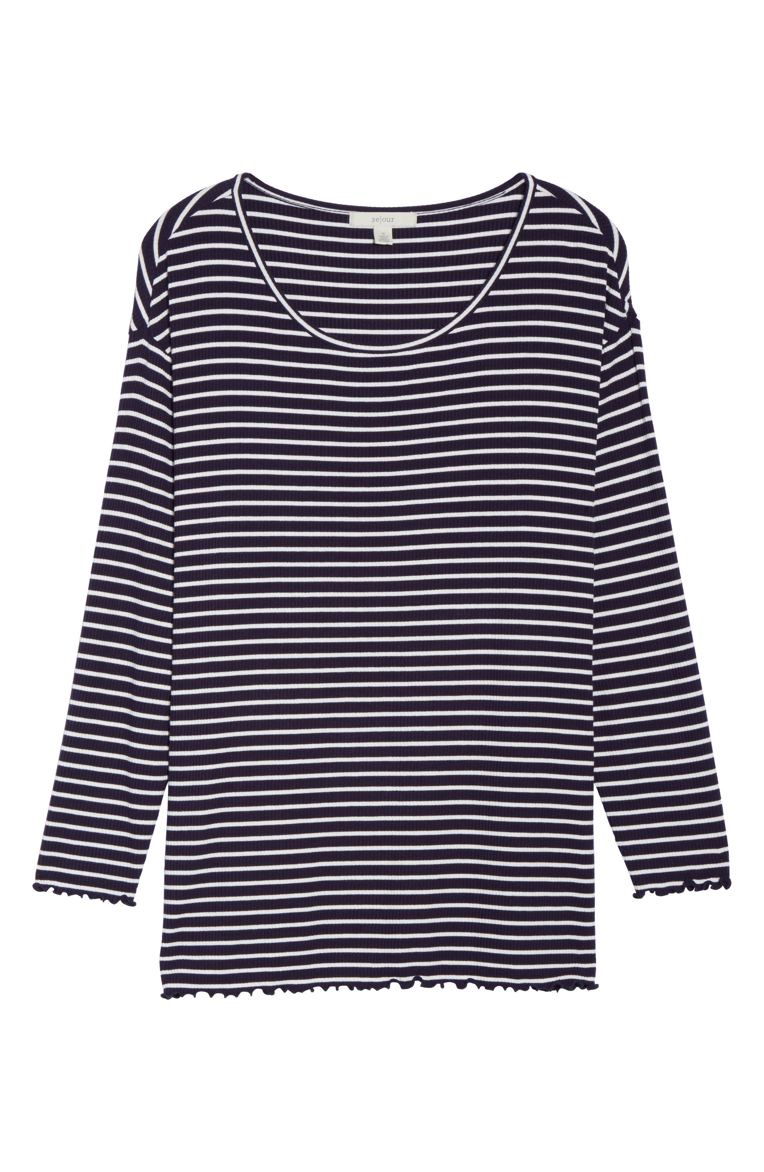 Scoop Neck Long Sleeve Tee,                             Alternate thumbnail 6, color,                             Navy- White Stripe