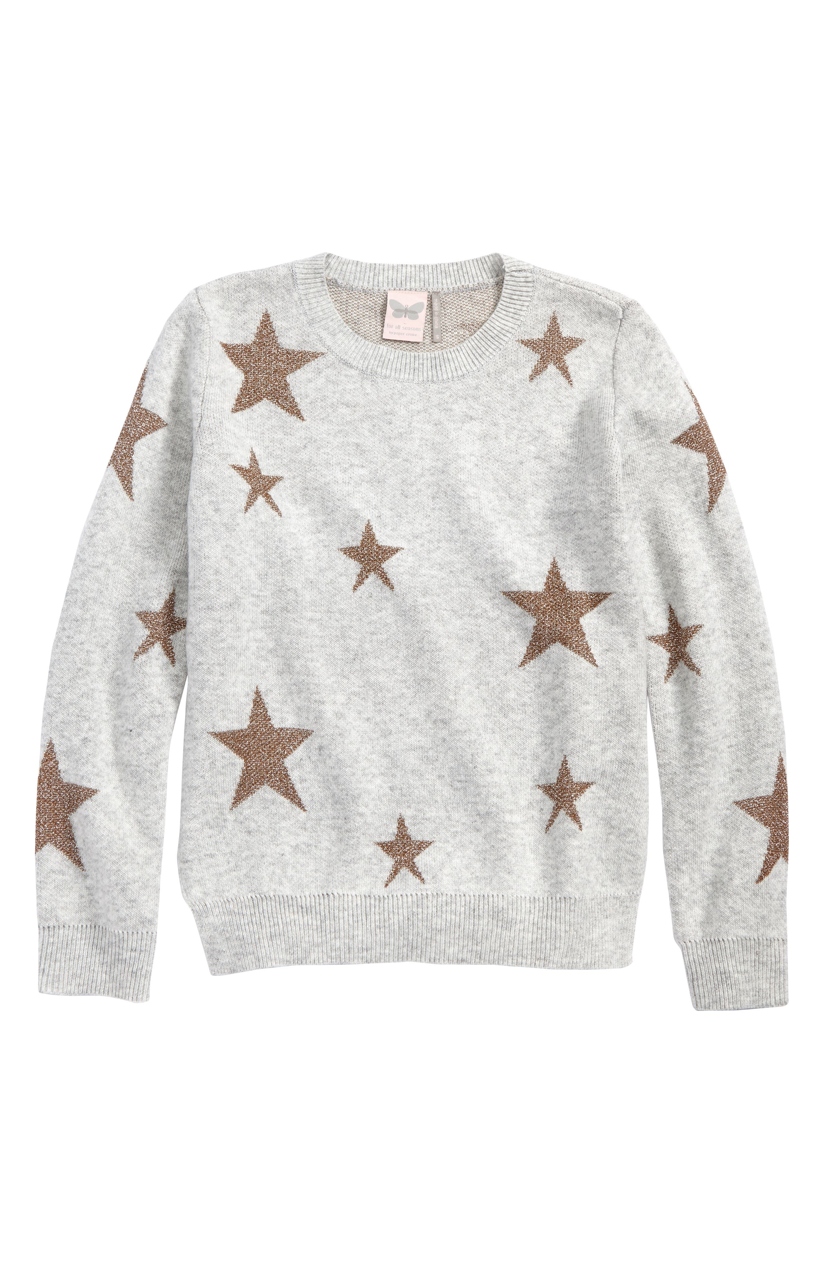 Star Sweater,                             Main thumbnail 1, color,                             Ivory/ Gold Stars