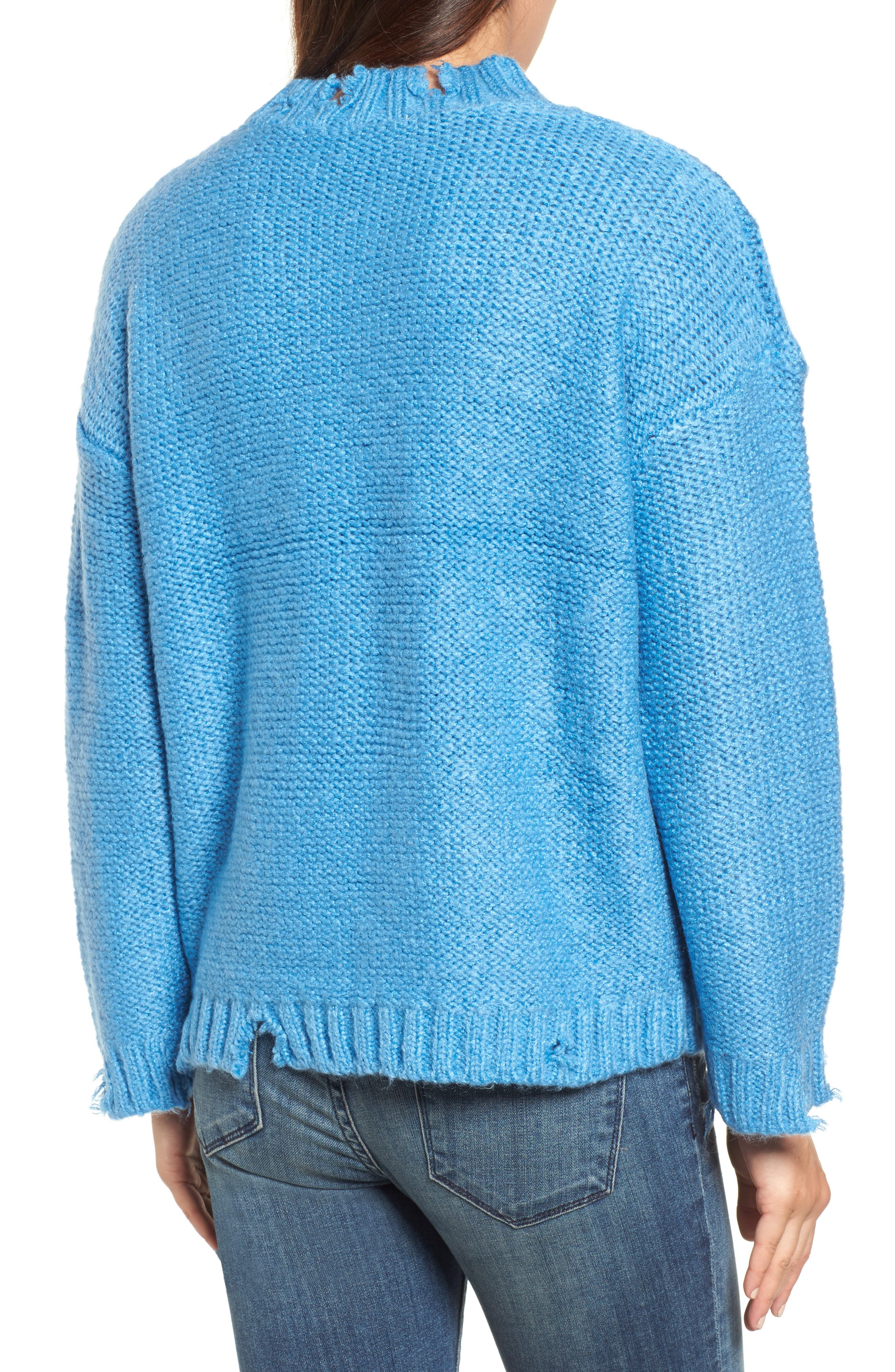 Destroyed Cable Knit Sweater,                             Alternate thumbnail 2, color,                             Turquoise
