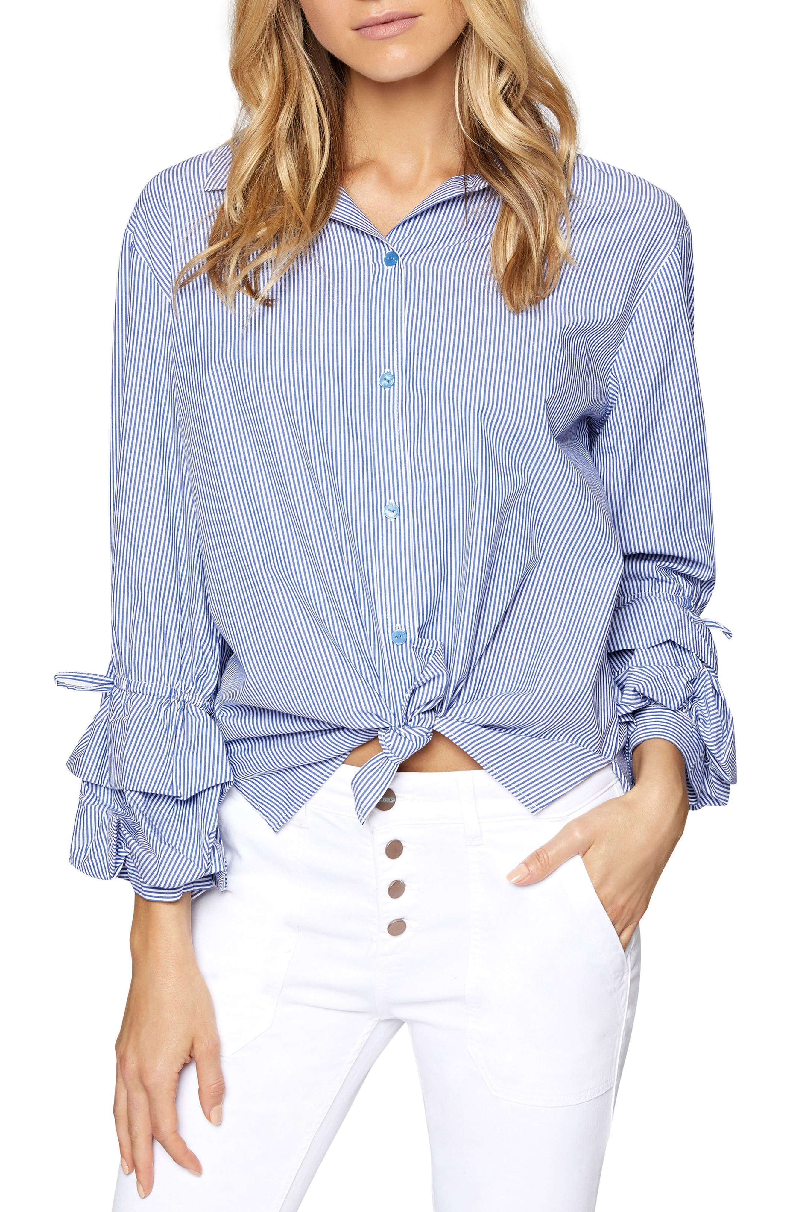 Frankie Ruffle Sleeve Shirt,                         Main,                         color, Core Strp