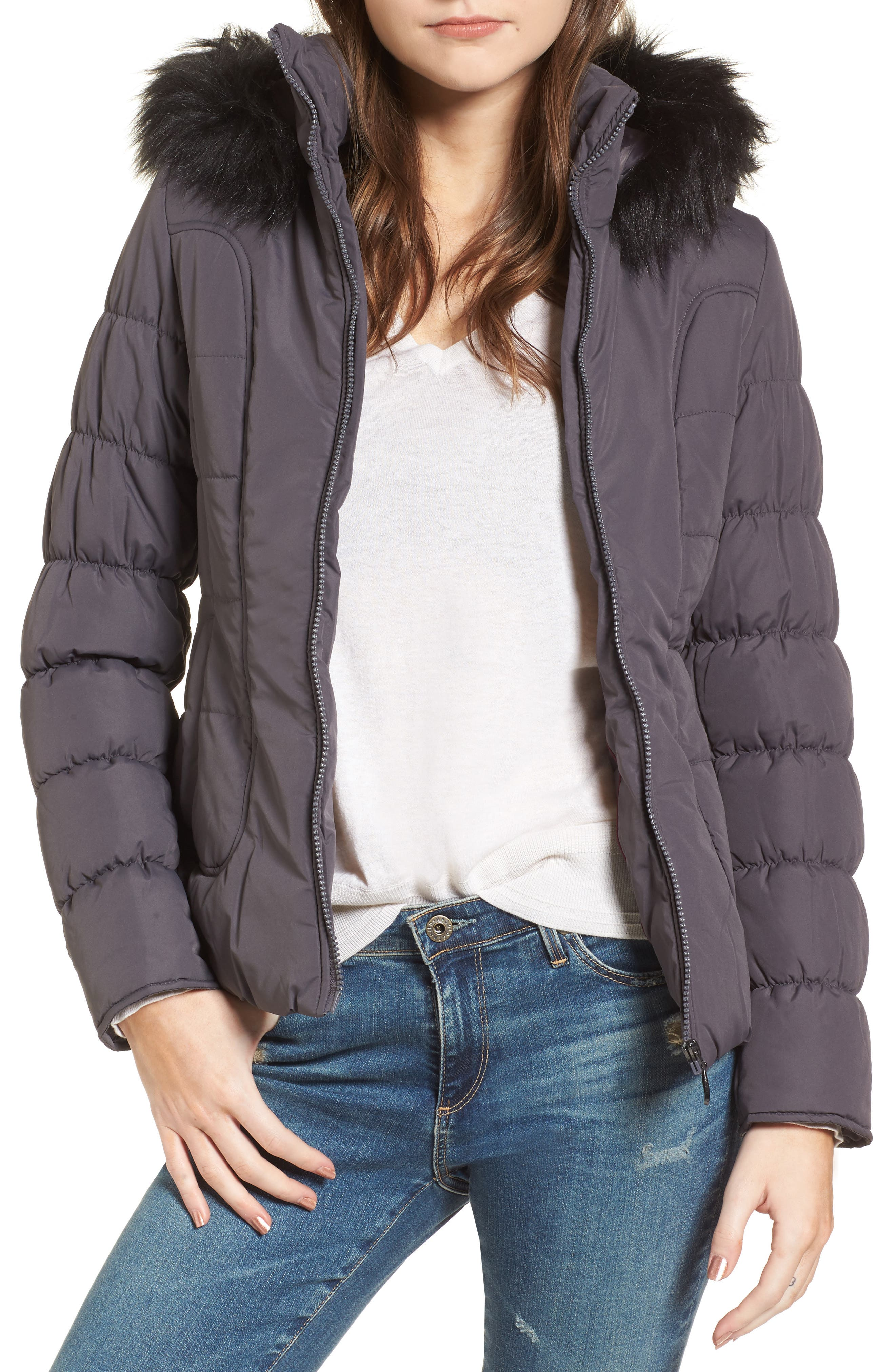 Quilted Jacket with Faux Fur Collar,                         Main,                         color, Concrete