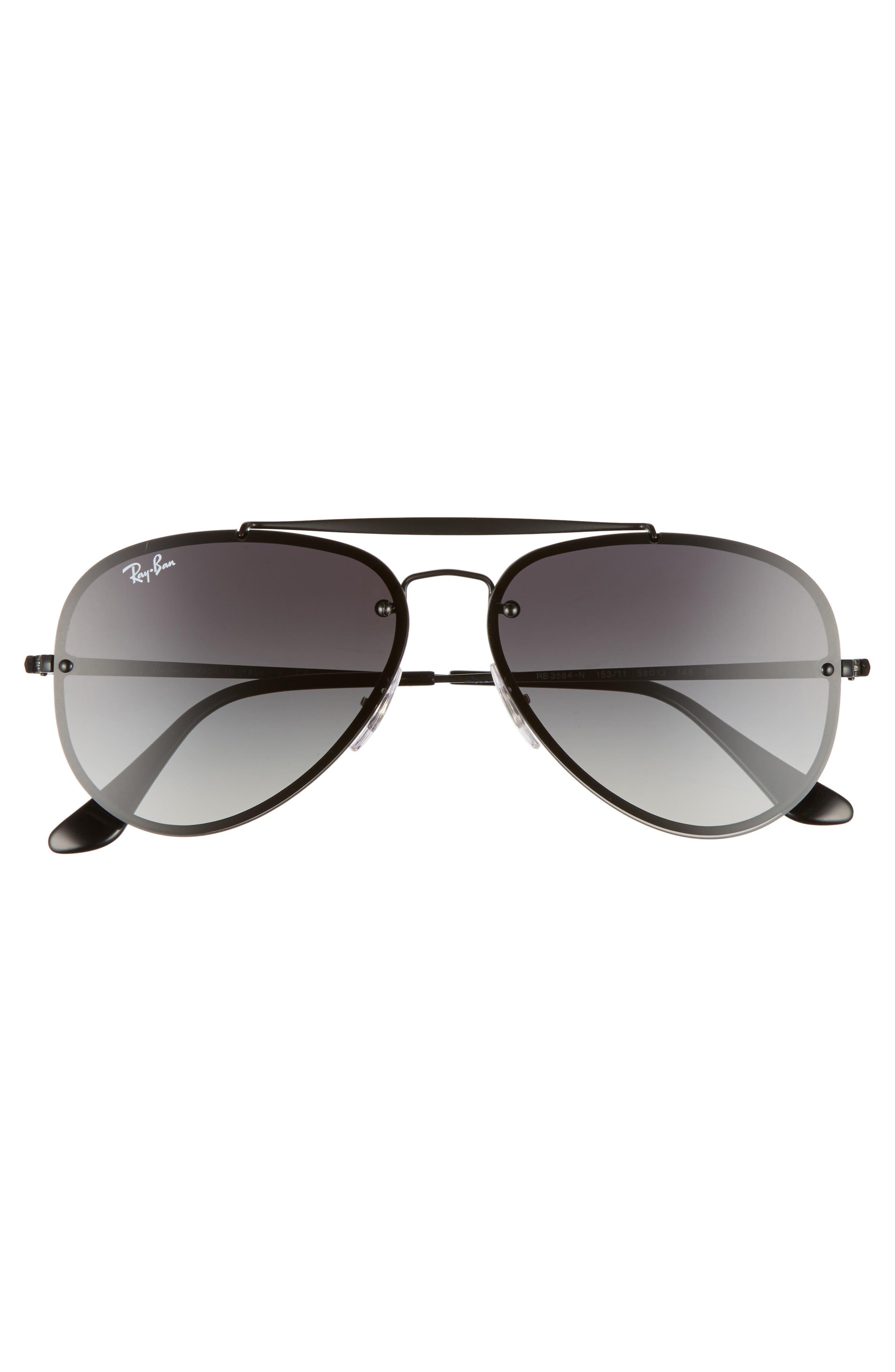 58mm Aviator Sunglasses,                             Alternate thumbnail 3, color,                             Shiny Black