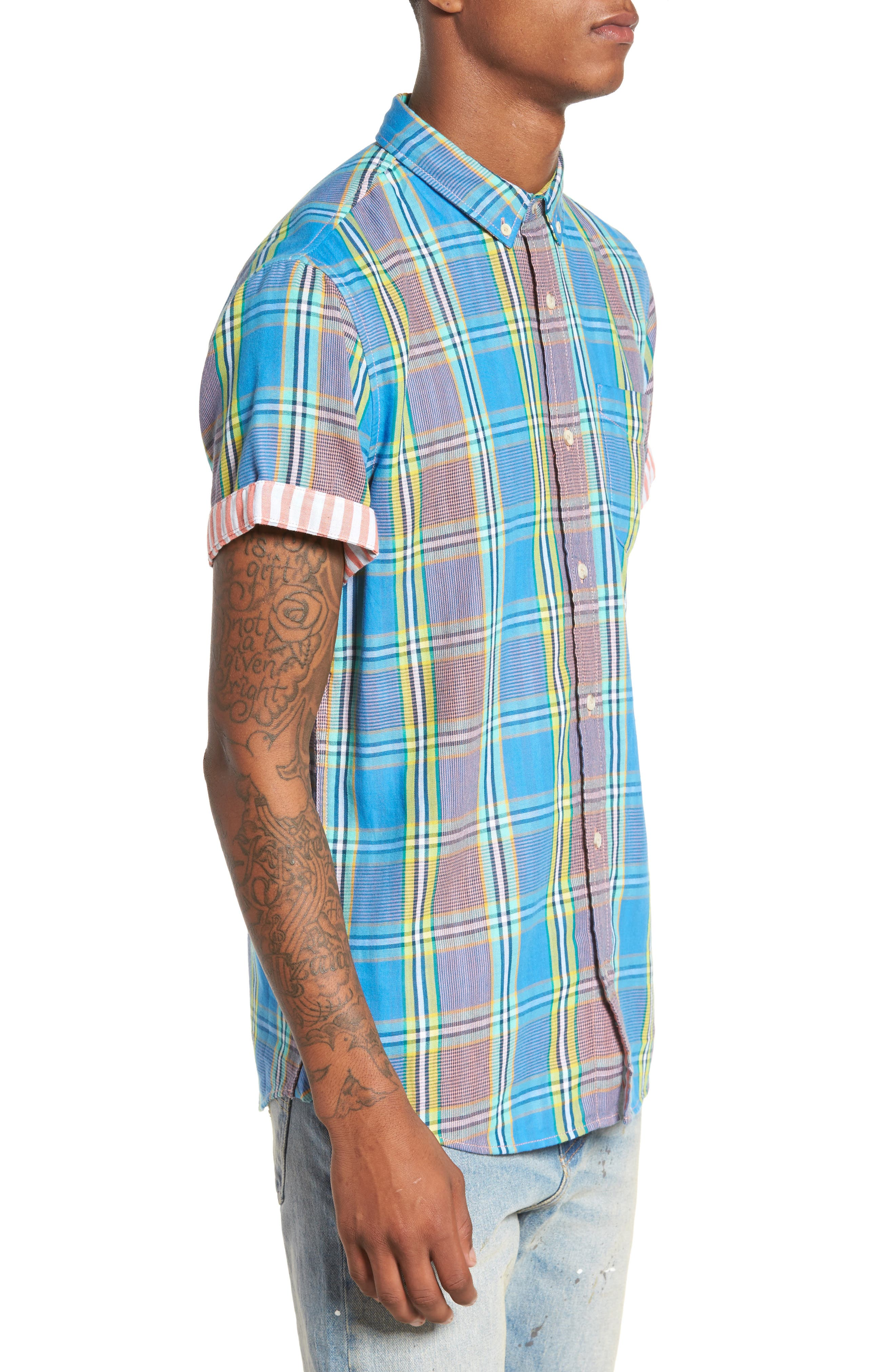 Short Sleeve Plaid Duofold Shirt,                             Alternate thumbnail 3, color,                             Blue Green Plaid Duo Fold