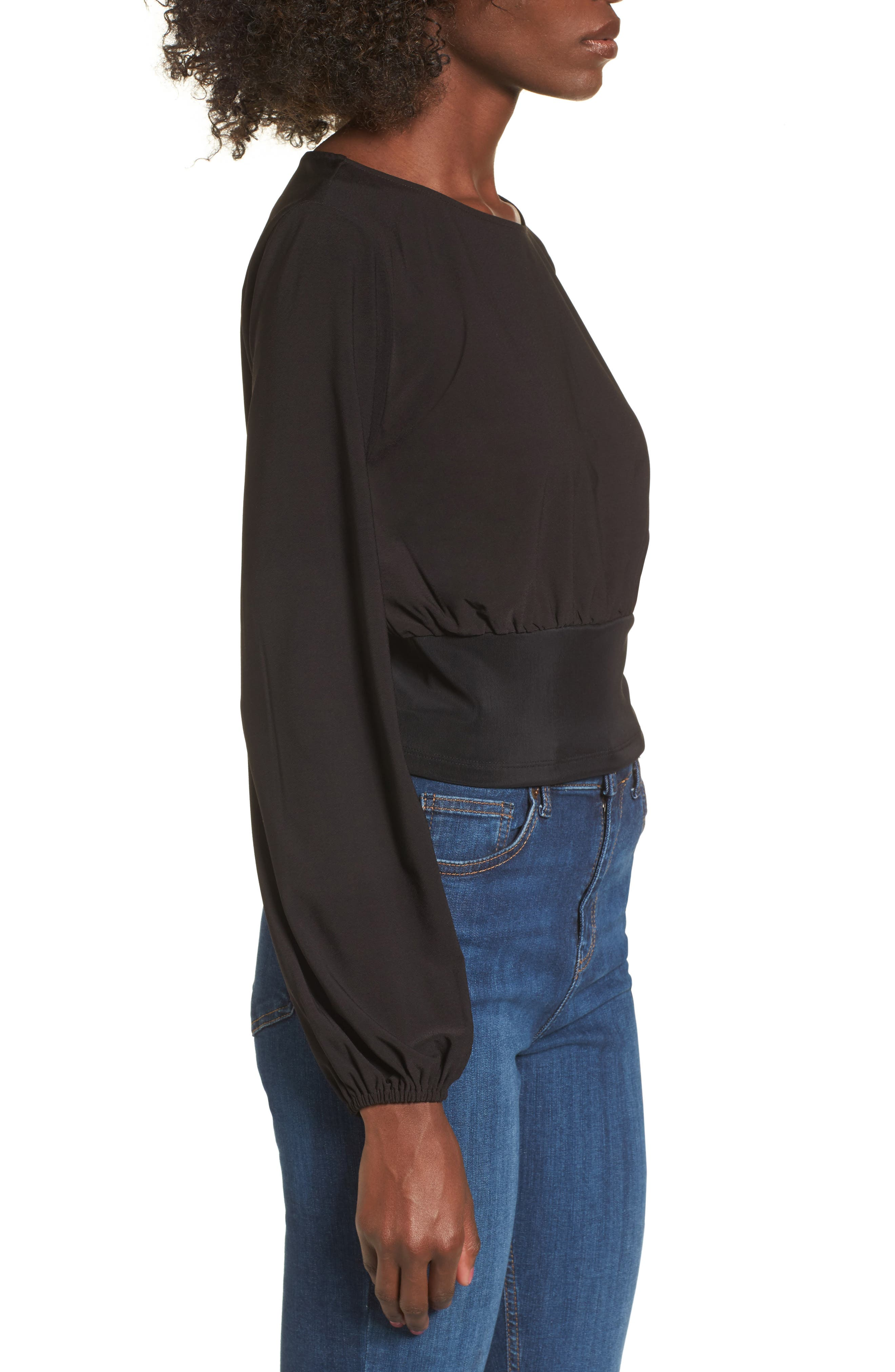 Blouson Banded Top,                             Alternate thumbnail 3, color,                             Black